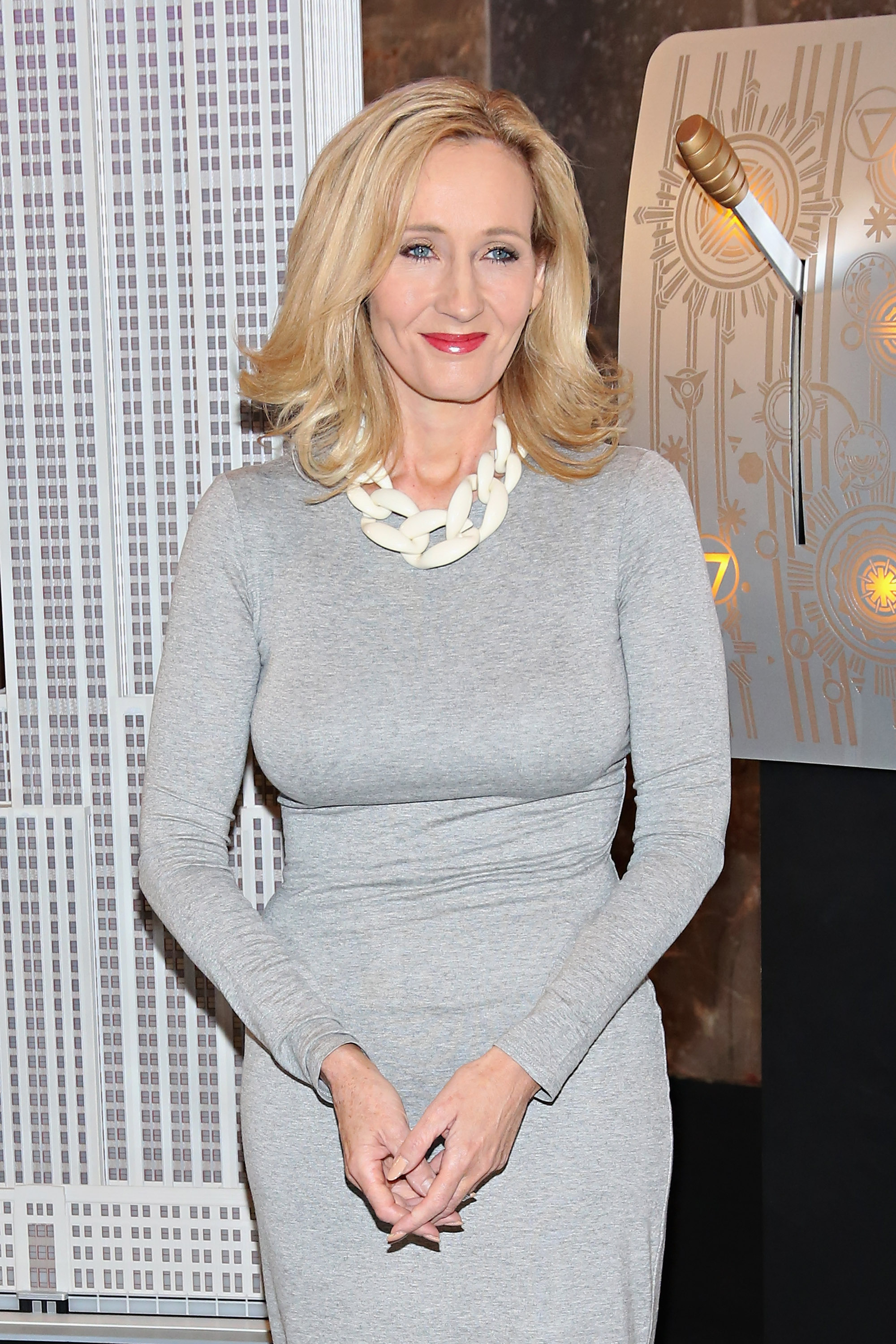 Founder and President of Lumos and Patron of Lumos USA/ Author J.K. Rowling ceremoniously lights the Empire State Building in LumosÕ colors of purple, blue and white to mark the US launch of her non-profit organization at The Empire State Building in New York City, on April 9, 2015.