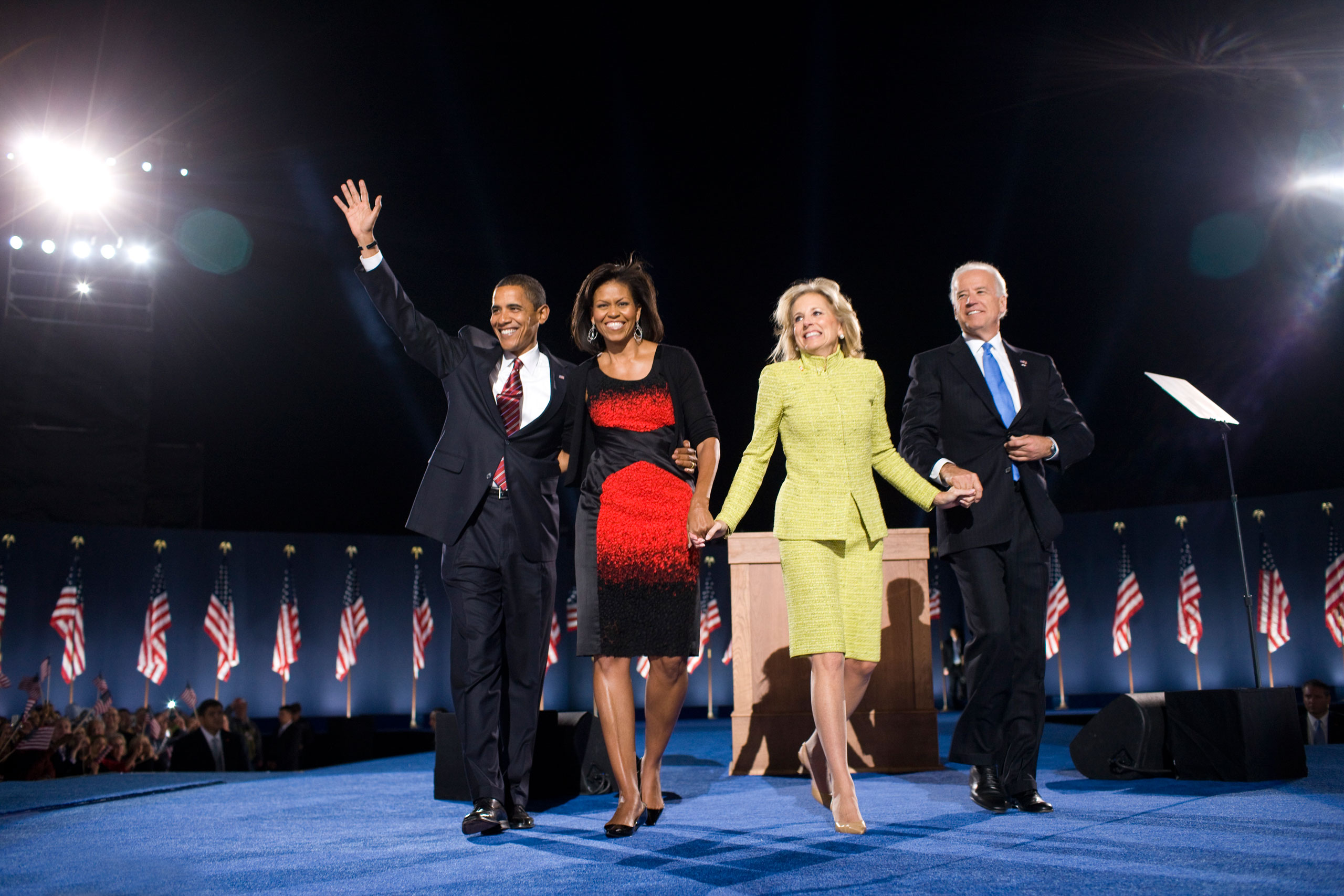 Barack Obama, Michelle Obama, Joe Biden and Jill Biden celebrate after Obama's victory speech at the election night rally in Chicago, on Nov. 04, 2008.