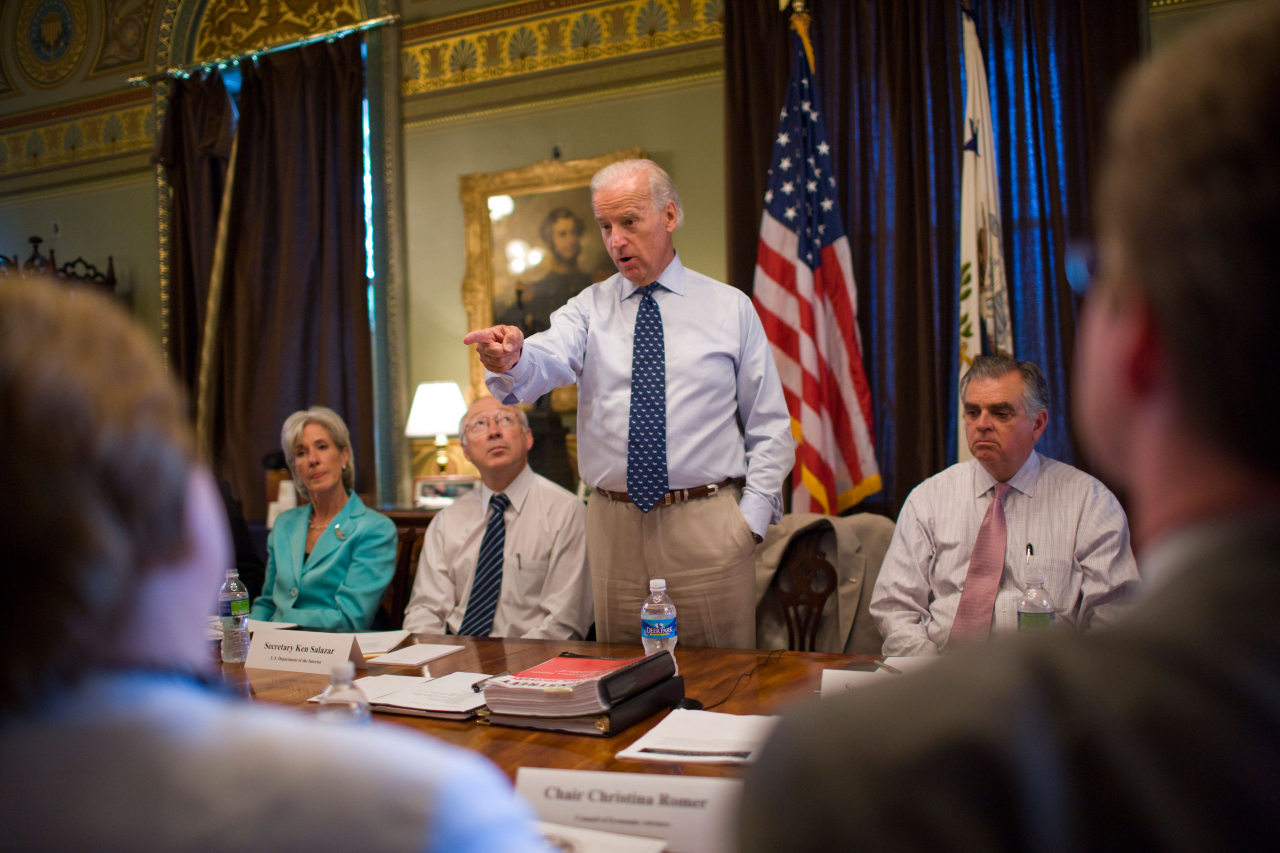 U.S. Vice President Joe Biden attends a Recovery Act Implementation Cabinet meeting in the Eisenhower Executive Office Building on the White House campus in Washington, on June 25, 2009.
