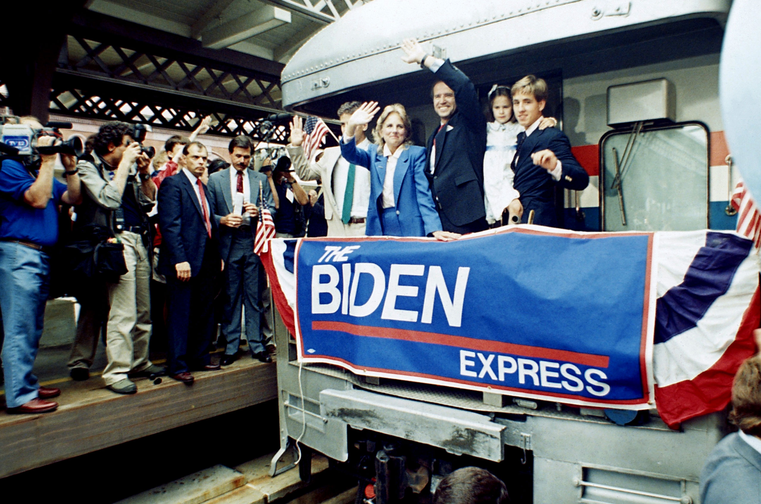 Joe Biden and his family, including his second wife Jill (far left), after announcing his candidacy for president in Wilmington, Del., on June 9, 1987.