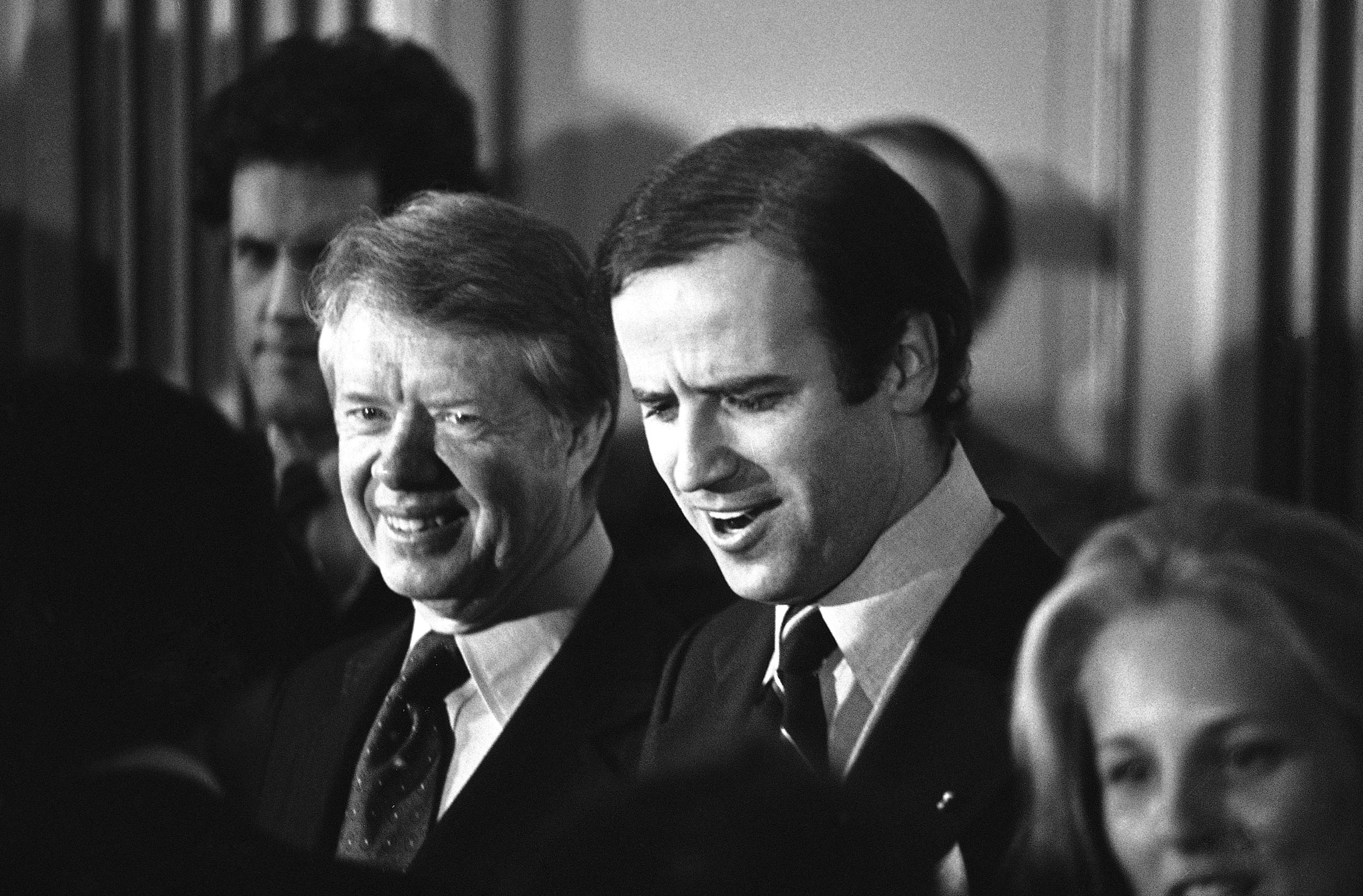 Jimmy Carter and Joe Biden at a fund raising reception in Wilmington, Del., on Feb. 20, 1978.
