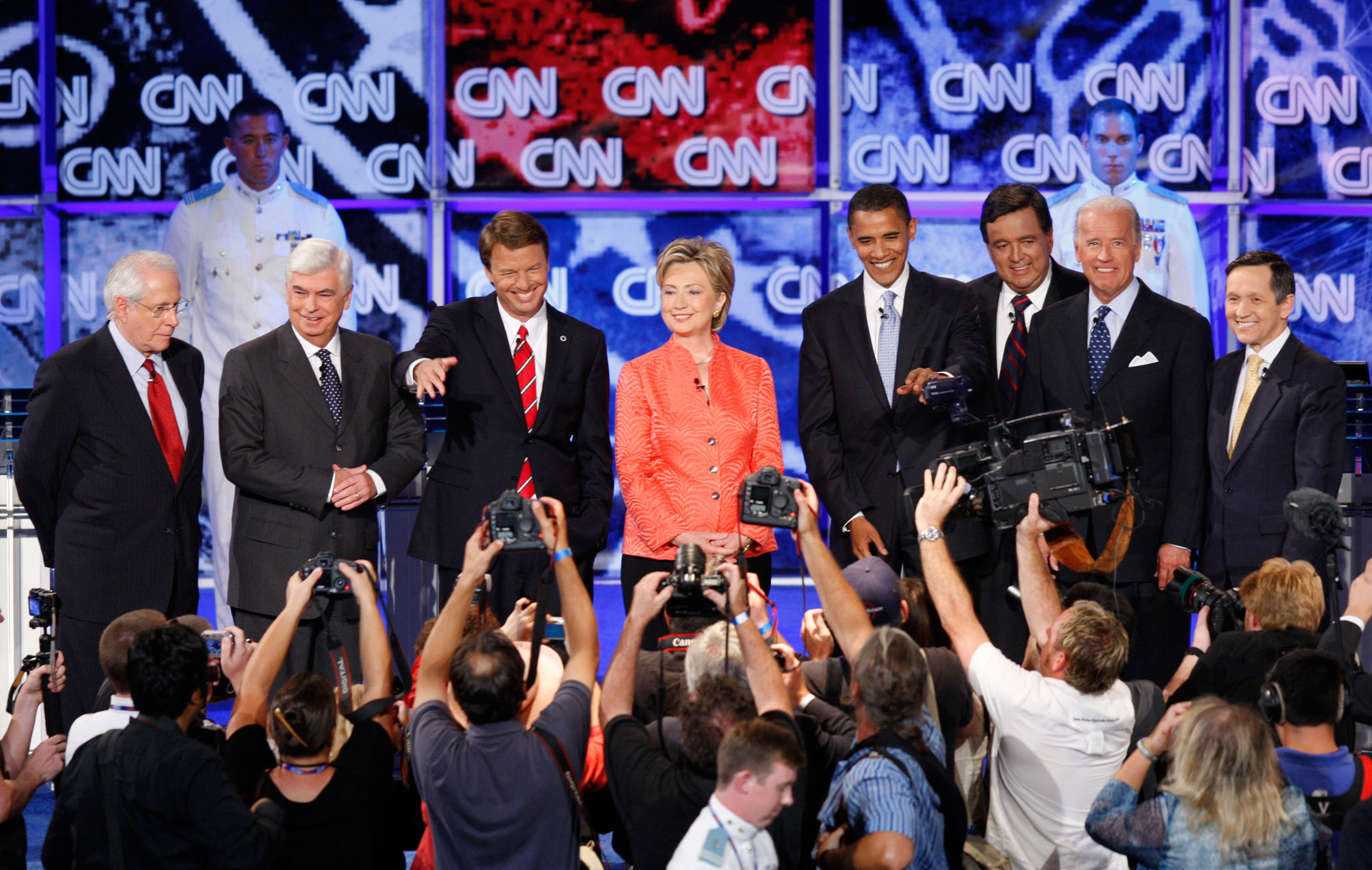 Democratic presidential hopefuls, from left: former Senator Mike Gravel, Senator Christopher Dodd,  former Senator John Edwards, Senator Hillary Rodham Clinton, Senator Barack Obama, New Mexico Governor Bill Richardson, Senator Joe Biden, and Representative Dennis Kucinich stand together before the start of the debate sponsored by CNN, YouTube and Google at The Citadel military college in Charleston, S.C., on July 23, 2007.
