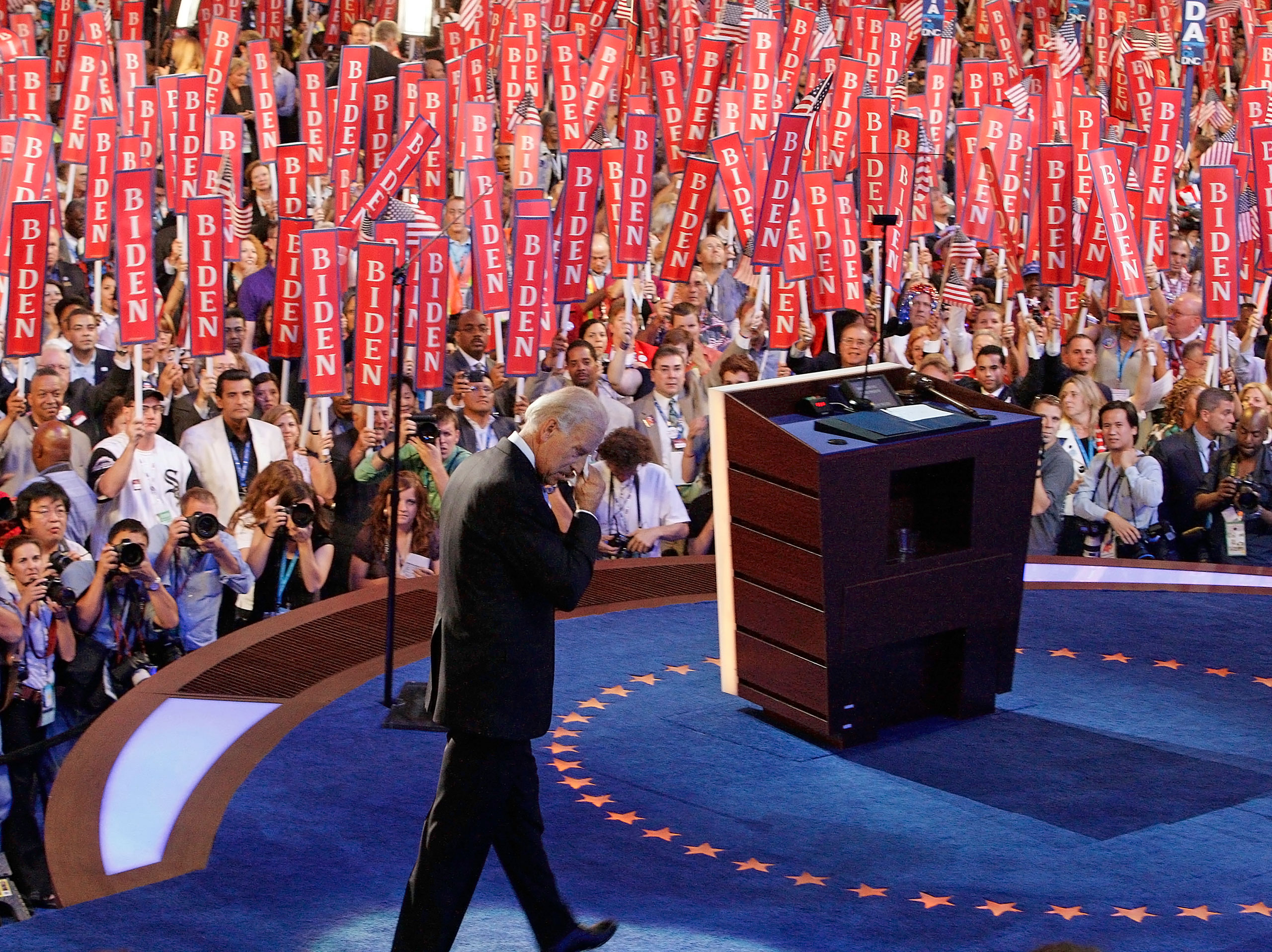 Joe Biden walks after accepting his party's nomination as their vice presidential candidate at the Democratic National Convention in Denver, Col., on Aug. 27, 2008.