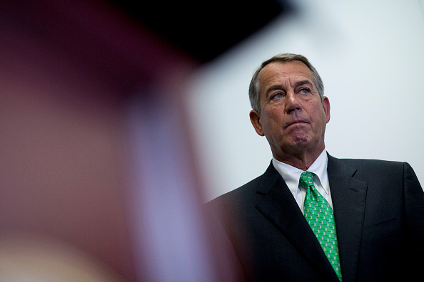 U.S. House Speaker John Boehner, a Republican from Ohio, listens during a news conference after a House Republican meeting at the U.S. Capitol in Washington, D.C., U.S., on Wednesday, Oct. 21, 2015.