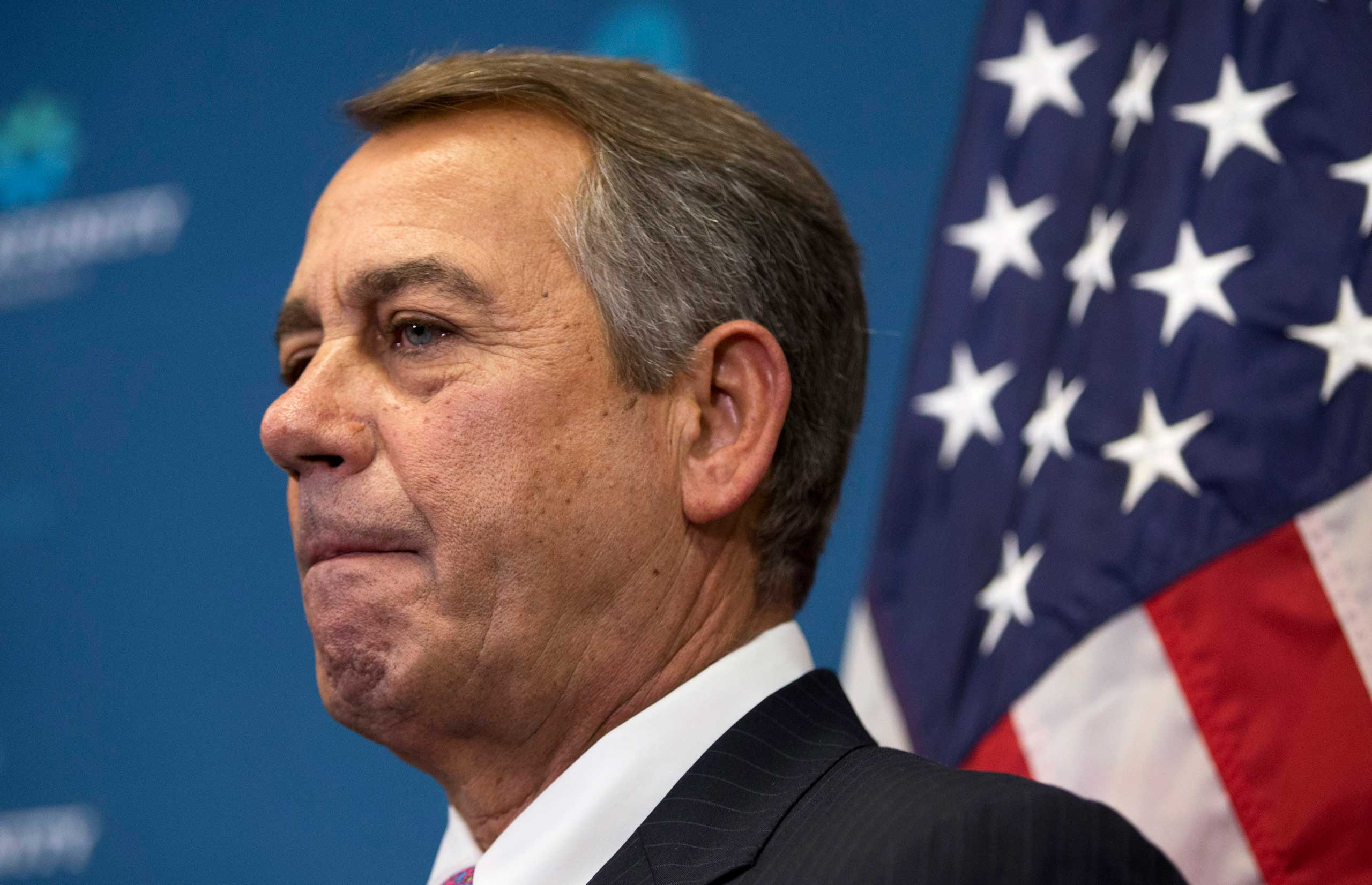 Outgoing House Speaker John Boehner of Ohio listens to reporters' questions during a news conference on Capitol Hill in Washington, Oct. 7, 2015.