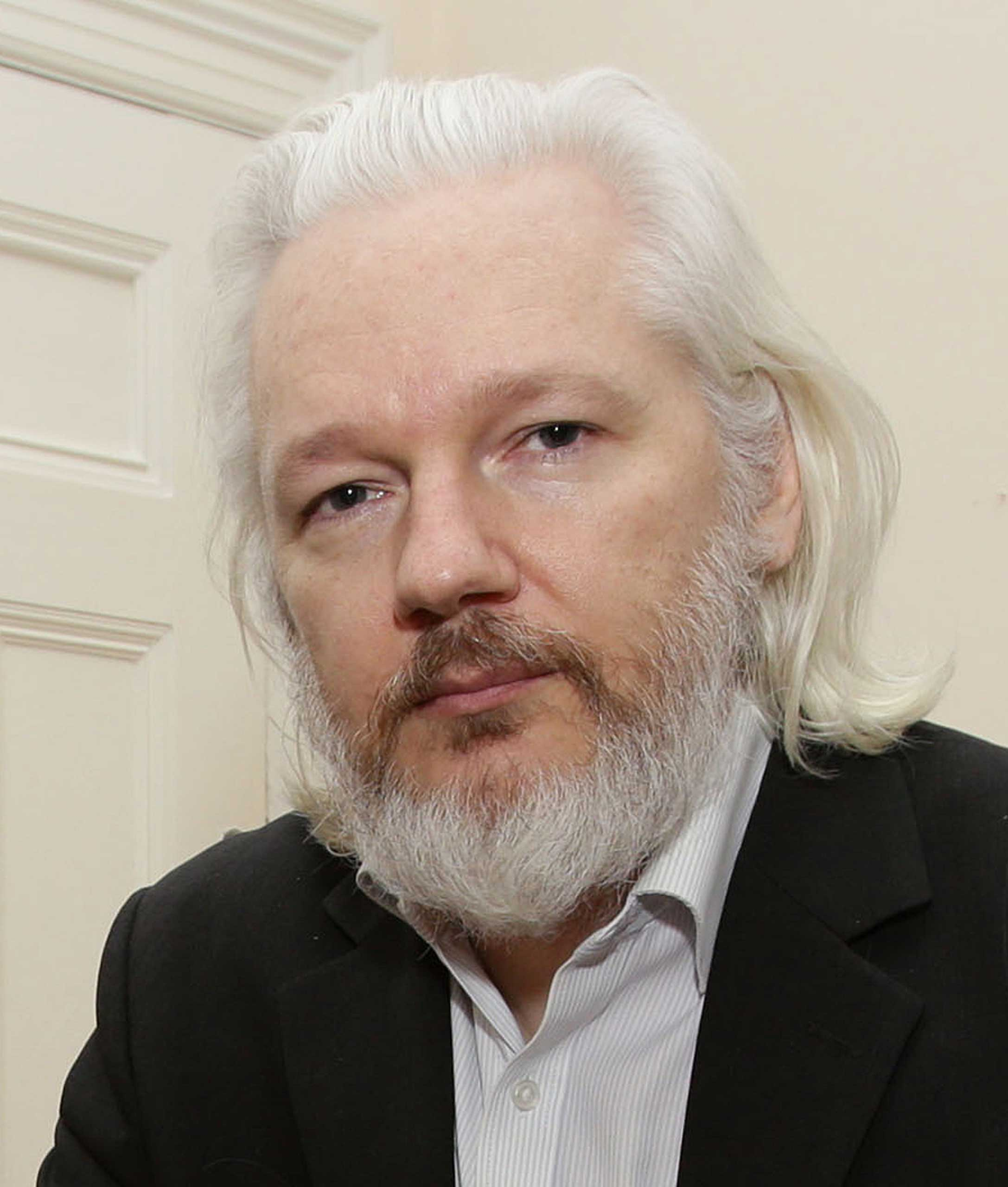 WikiLeaks founder Julian Assange who fears he may be assassinated if he steps outside the Ecuadorian embassy, Aug. 29, 2015.