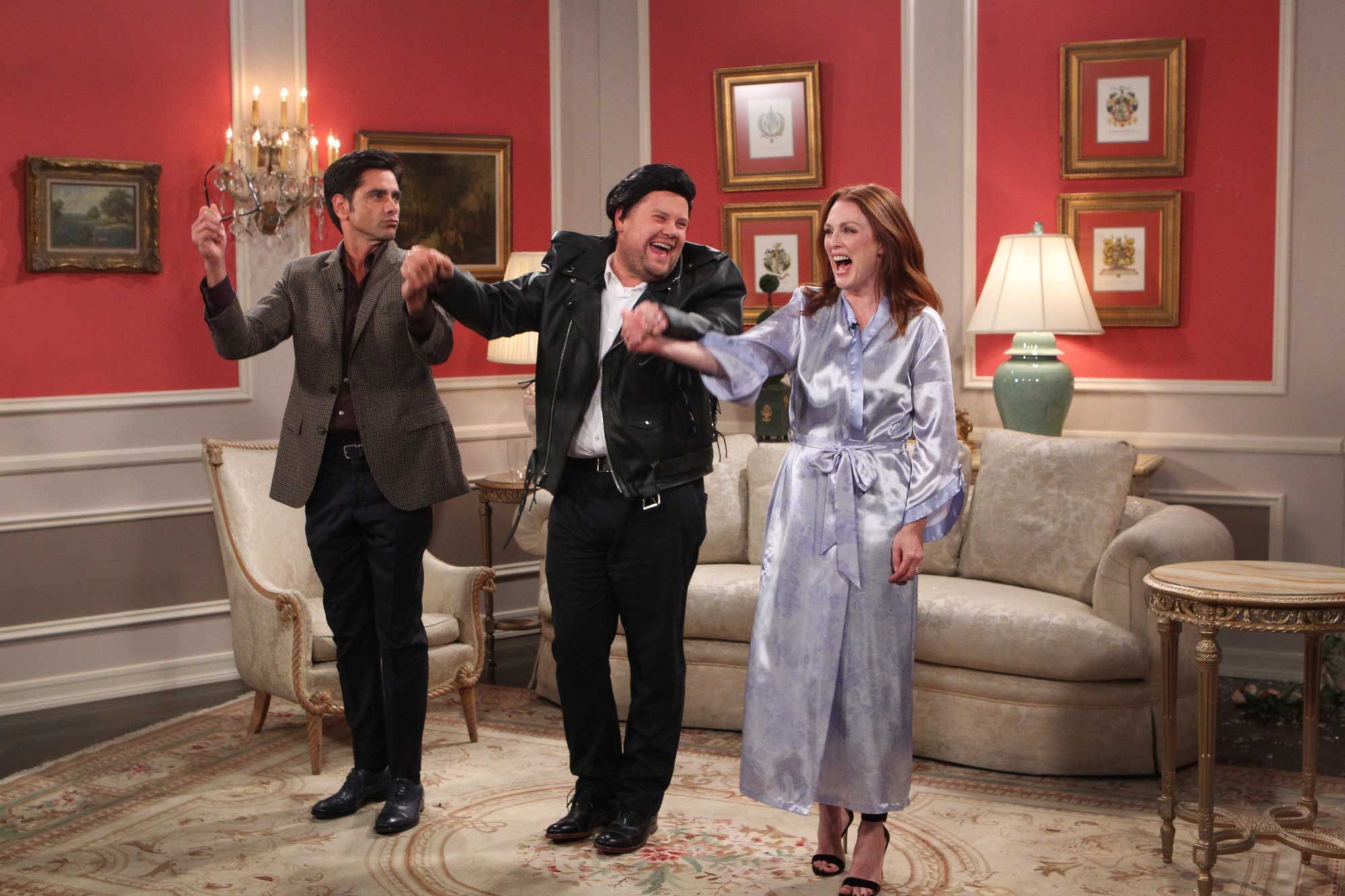 James Corden performs a skit with Julianne Moore and John Stamos on  The Late Late Show with James Corden , on The CBS Television Network, Oct. 5, 2015.