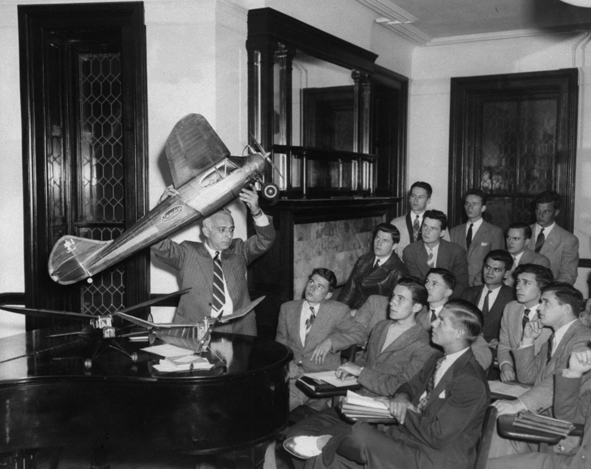Michael Annick, aero-mechanics instructor, teaches a class of air cadets at Dickinson Junior College in 1942