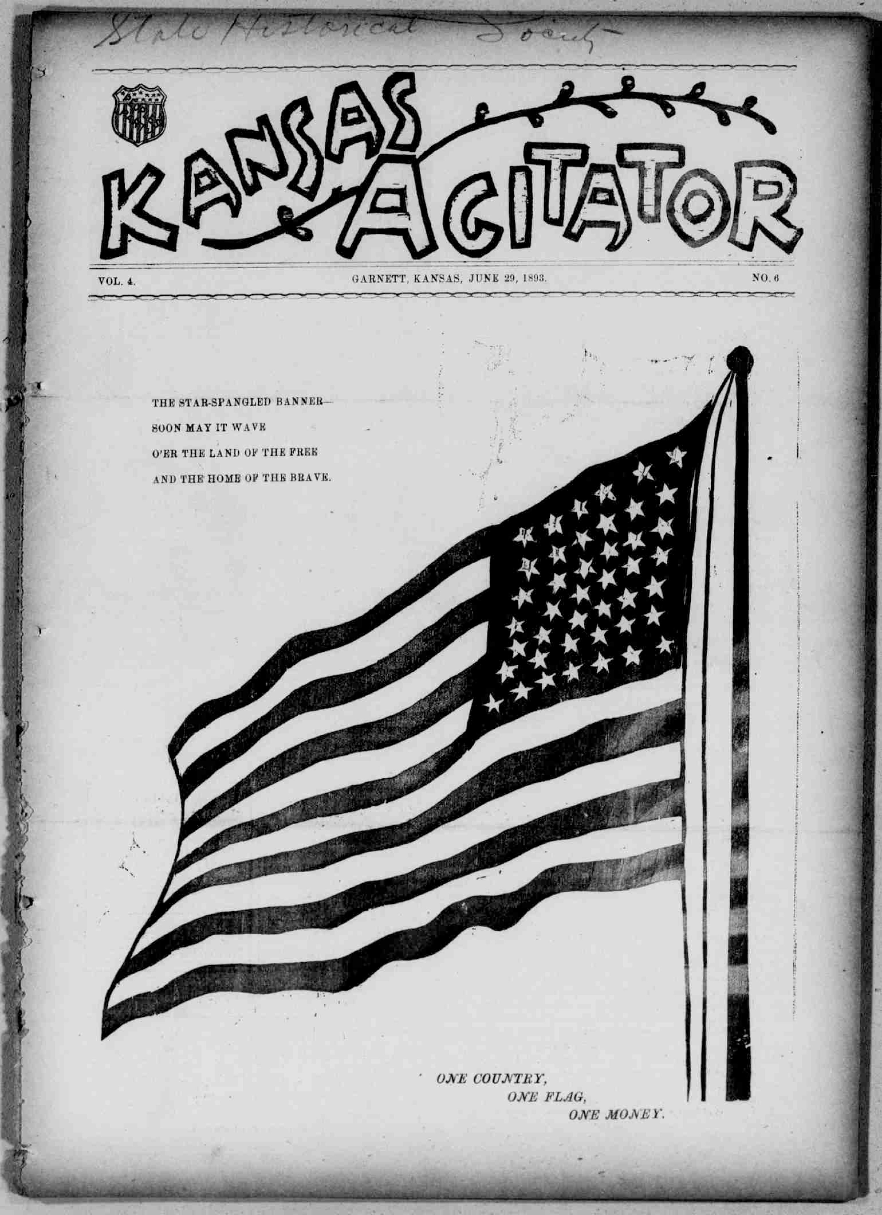 Kansas Agitator. (Garnett, Kan.), June 29, 1893.Front page news: The panic of 1893 and populism.