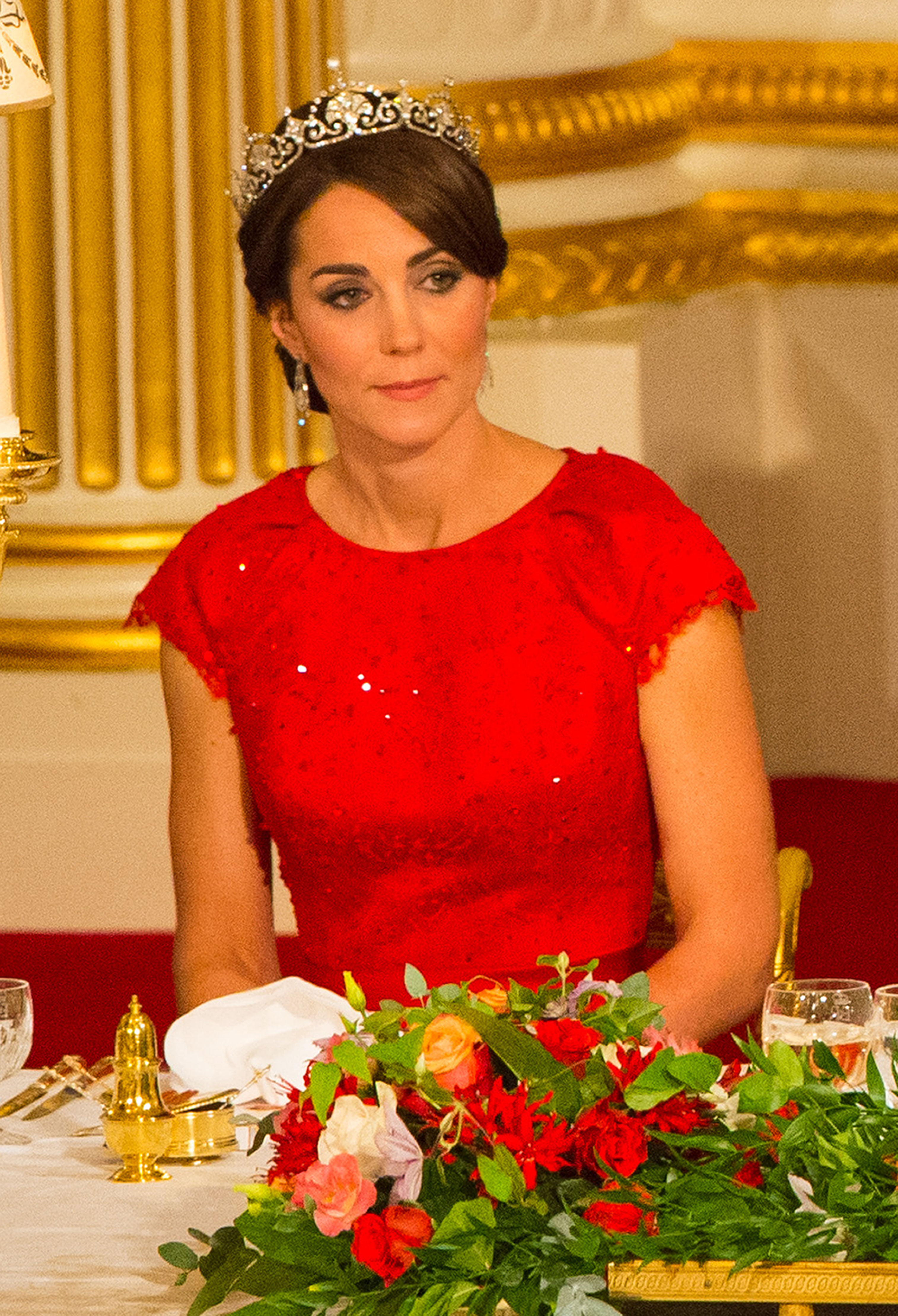 The Duchess of Cambridge as Queen Elizabeth II speaks at a state banquet at Buckingham Palace in London on Oct. 20, 2015.