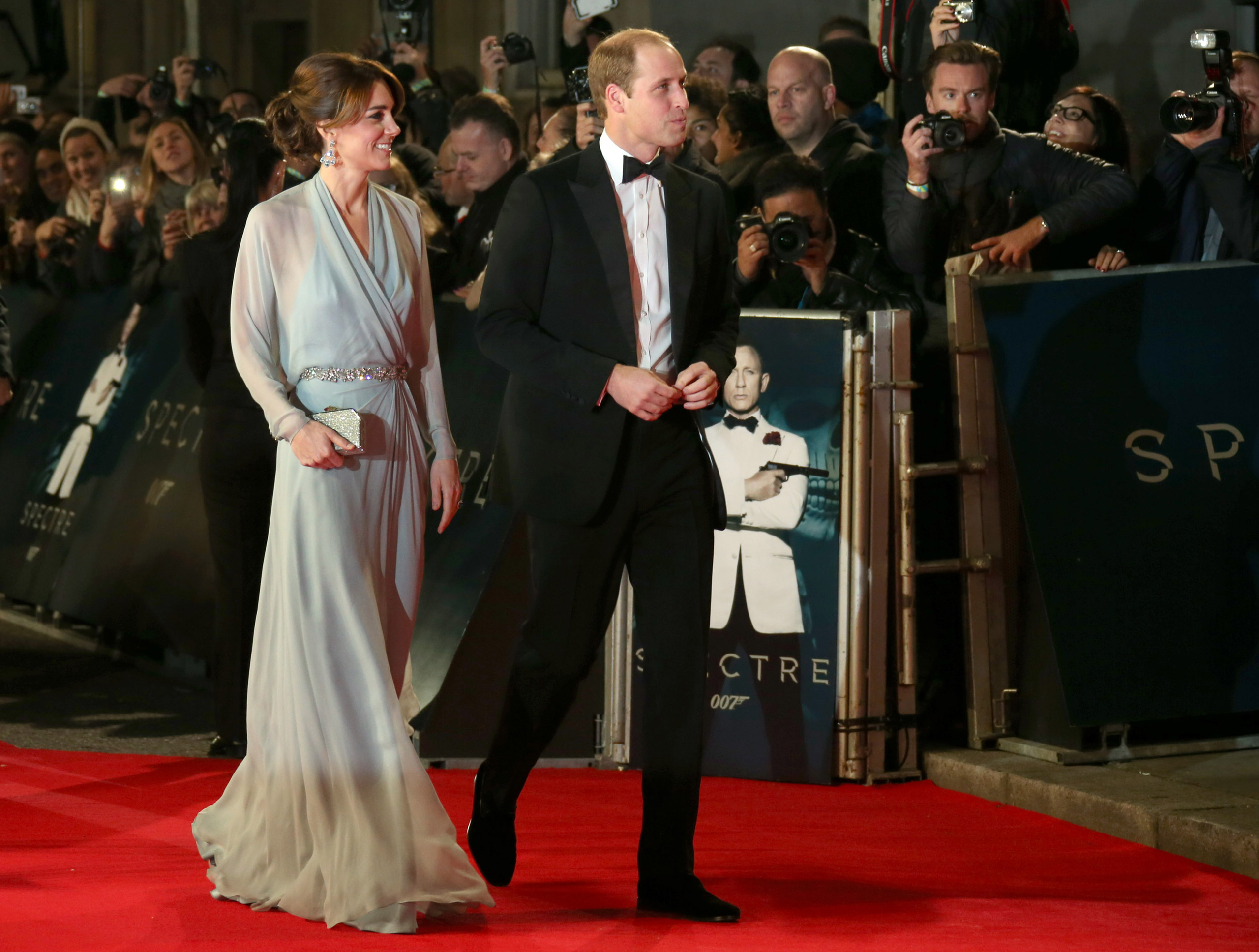 "Catherine, the Duchess of Cambridge, and Prince William, the Duke of Cambridge, arrive for the World Premiere of ""Spectre"" at the Royal Albert Hall in London, on Oct. 26, 2015."