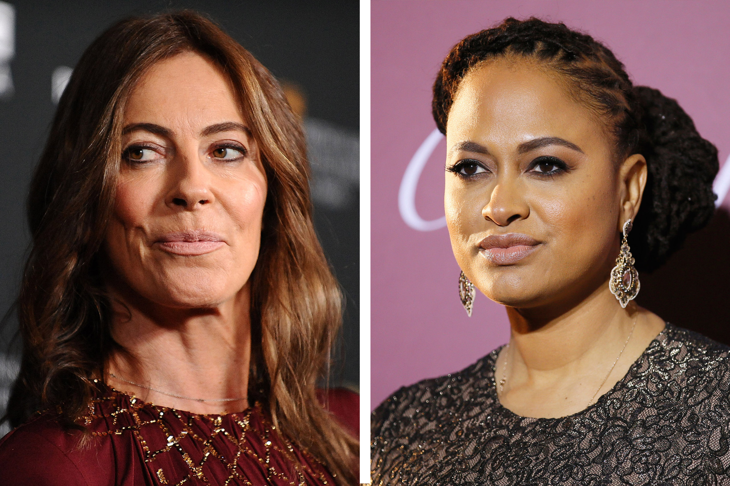 Left:  Kathryn Bigelow attends the BAFTA Los Angeles Britannia Awards at The Beverly Hilton Hotel in Beverly Hills, Calif., on Nov. 9, 2013; Right: Ava DuVernay poses at the 26th Annual Palm Springs International Film Festival Awards Gala in Palm Springs, Calif., on Jan. 3, 2015.
