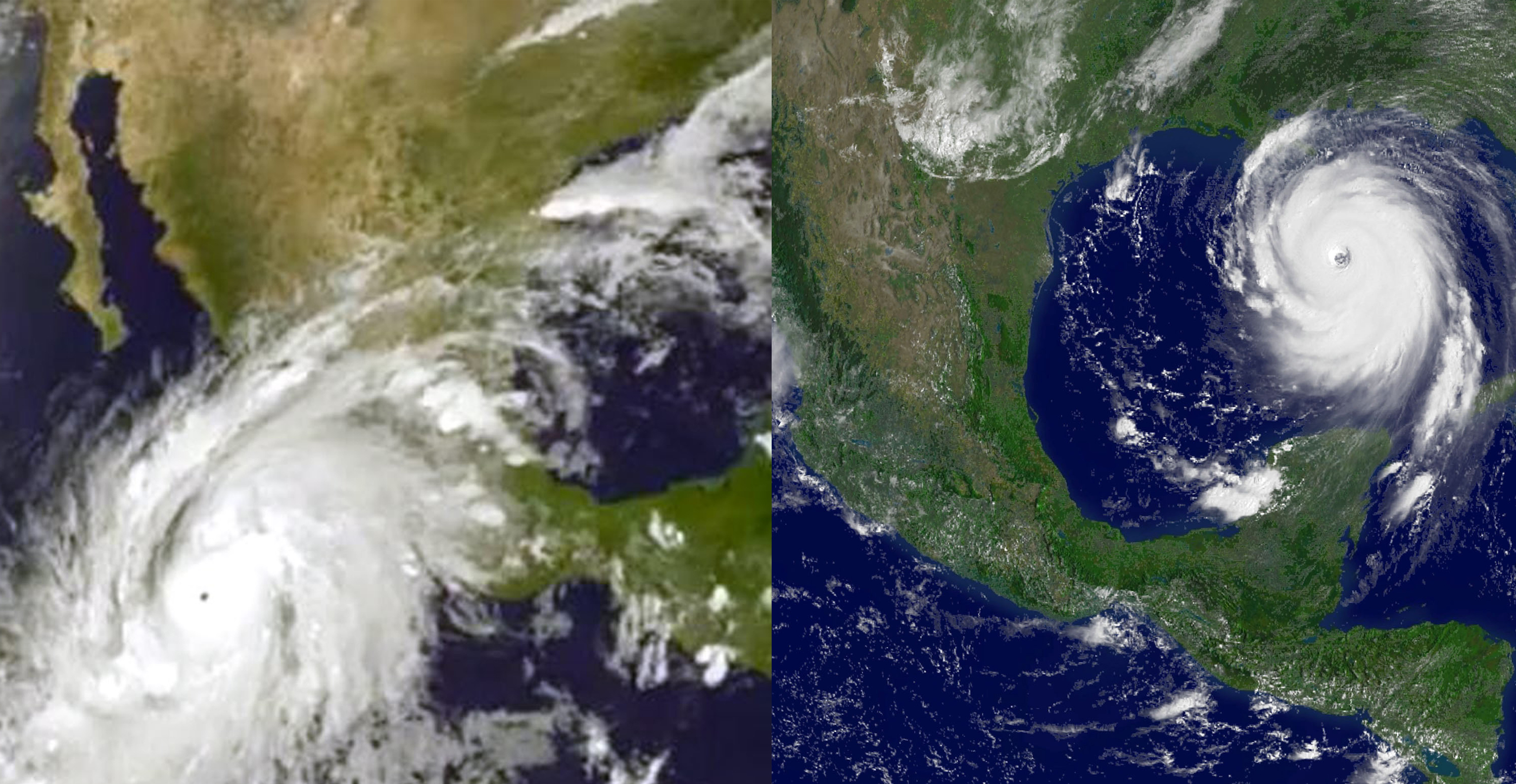 Hurricane Patricia on Oct. 22, 2015; Hurricane Katrina on Aug. 28, 2005.