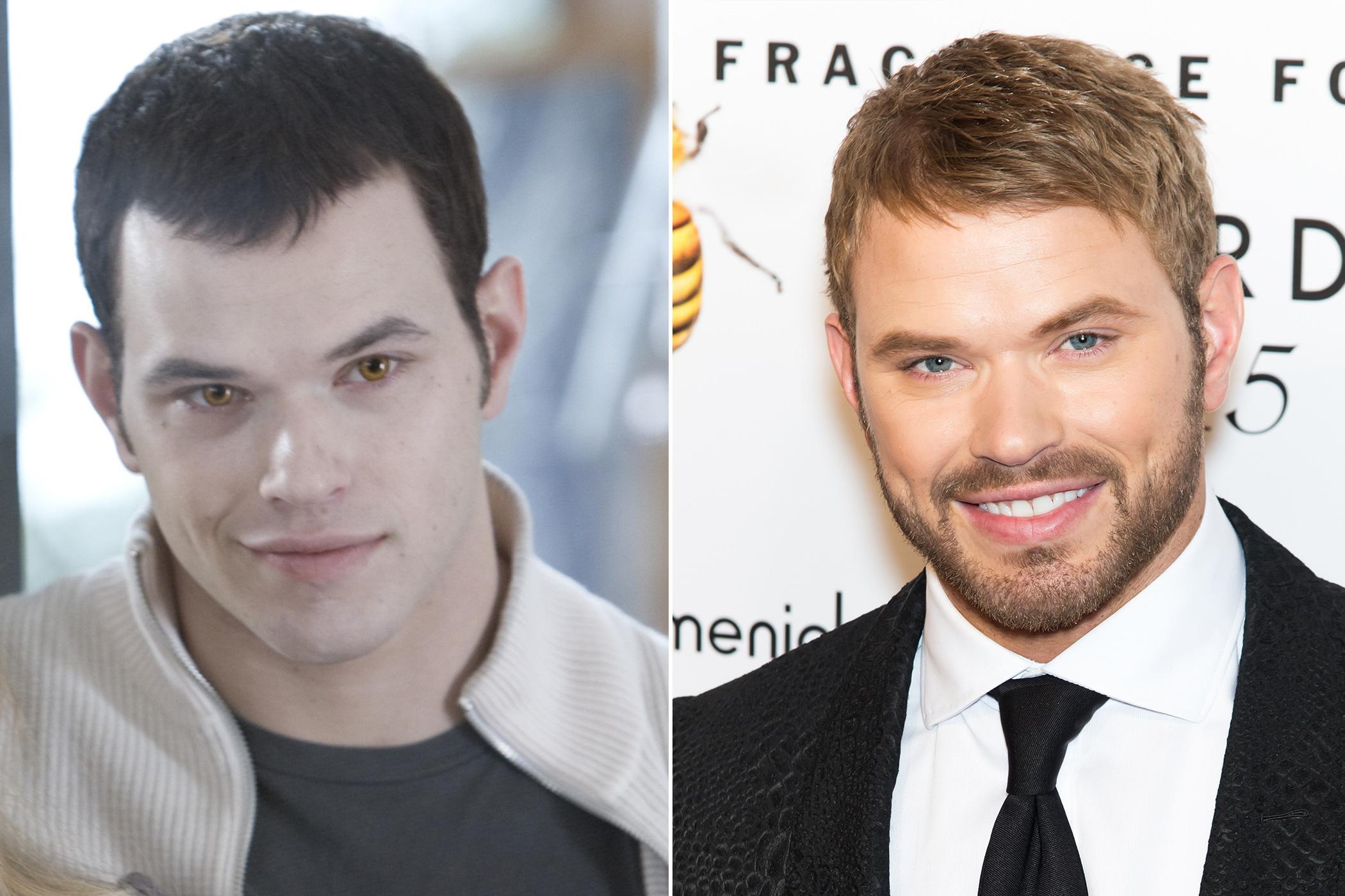 Left: Kellan Lutz as Emmet Cullen in Twilight, 2008; Right: in 2015