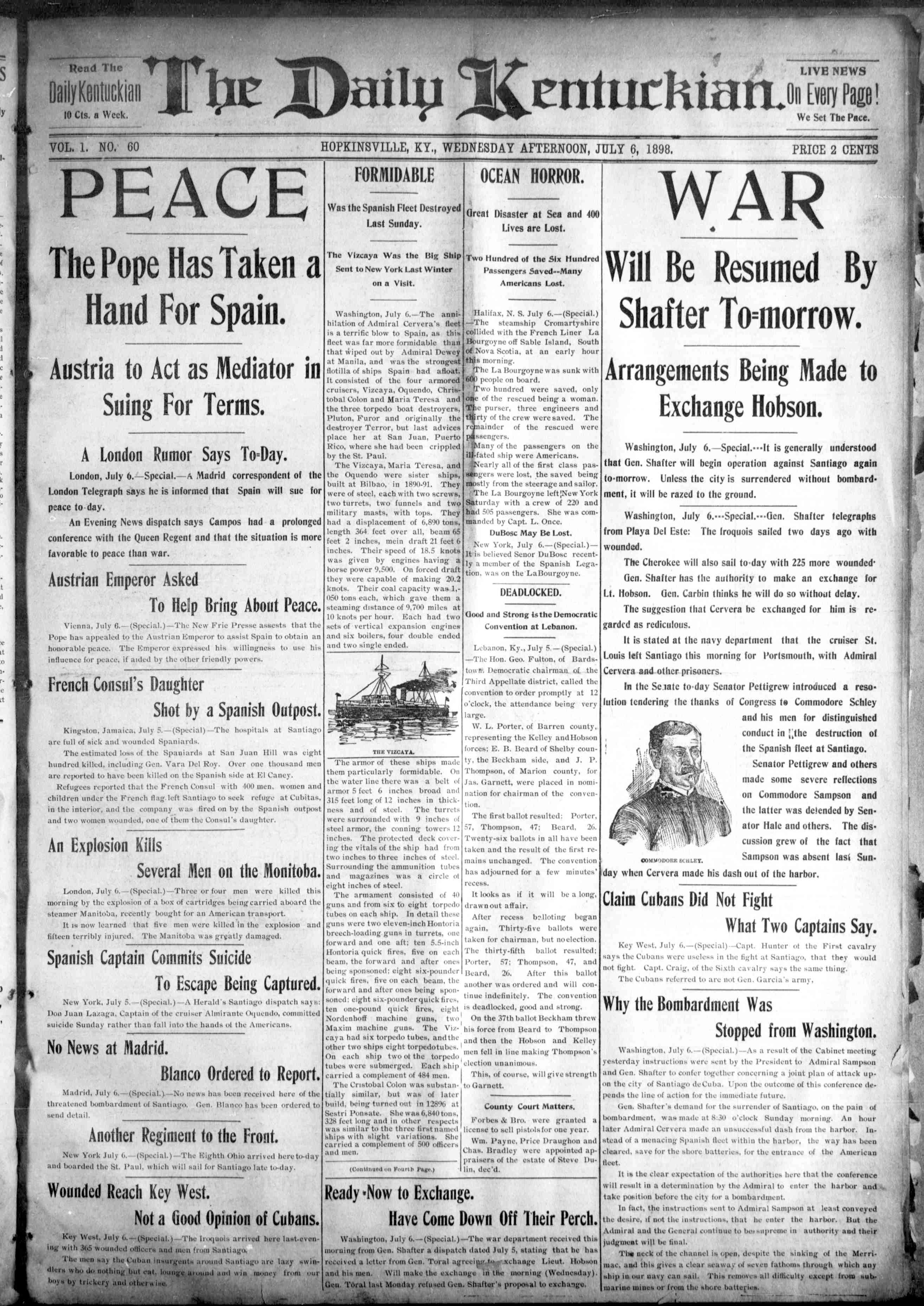 The Daily Kentuckian. (Hopkinsville, Ky.), July 6, 1898. Front page news: The Spanish-American War.