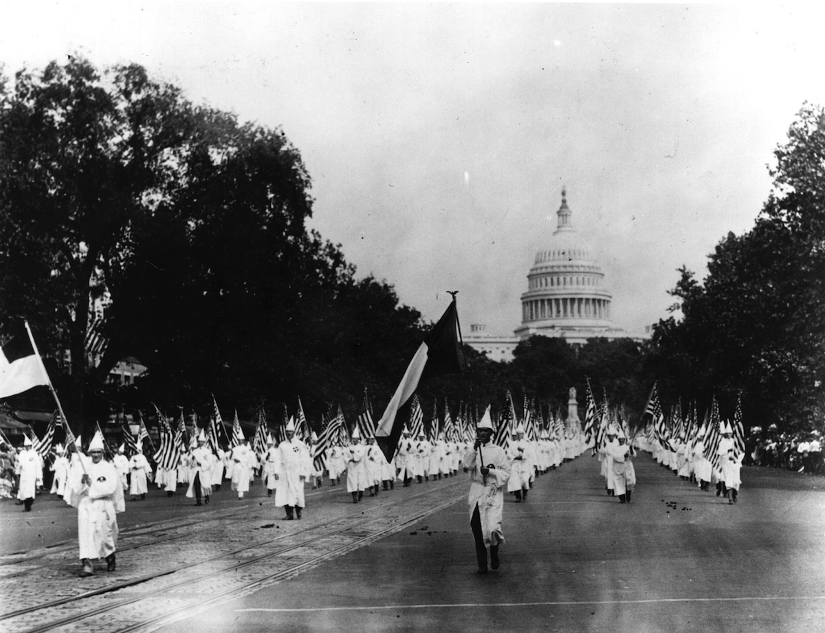 Members of the American white supremacist movement, the Ku Klux Klan marching down Pennsylvania Avenue in Washington DC on Aug. 19, 1925