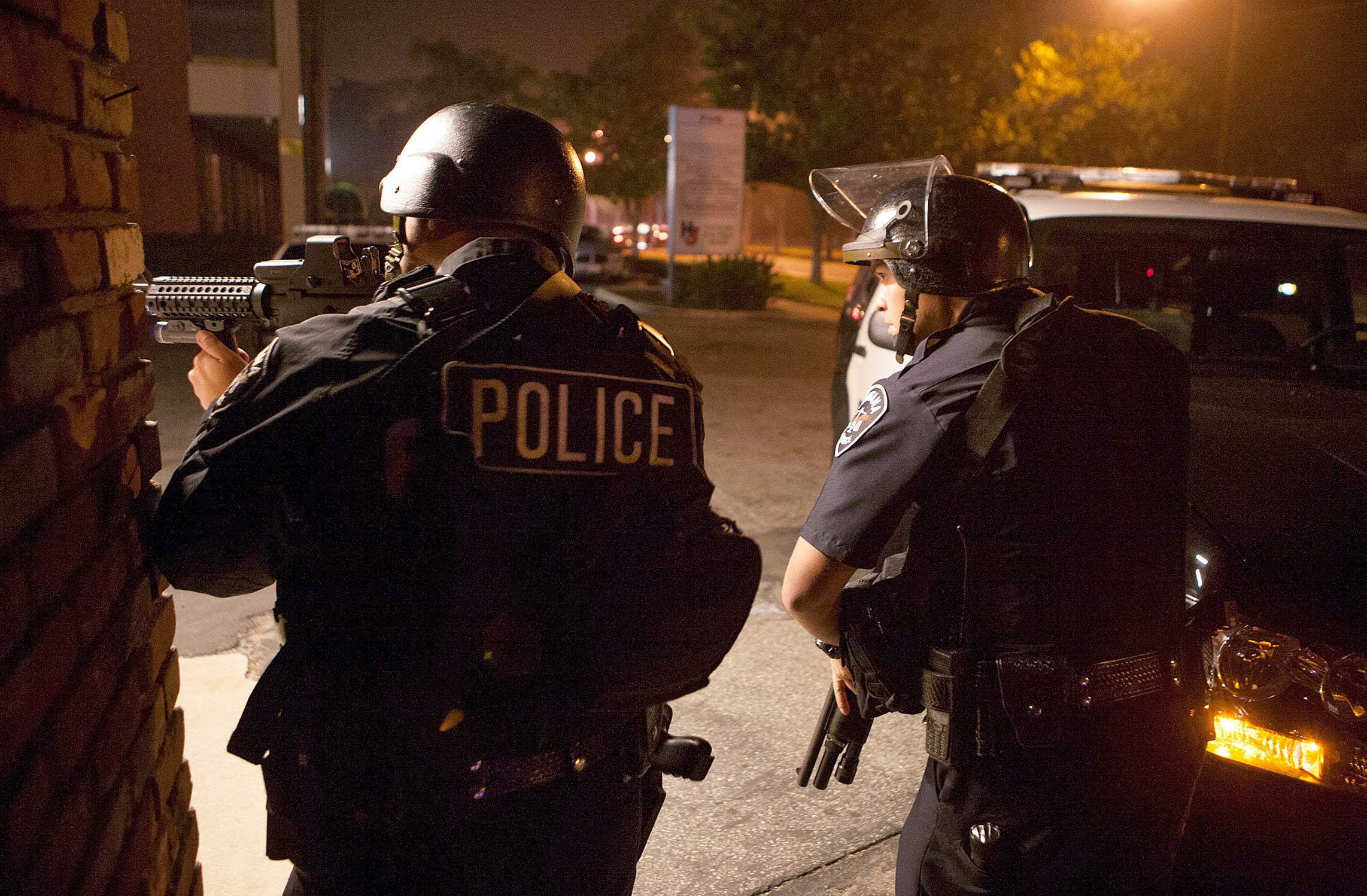 Police respond in Riverside, Calif., Feb. 7, 2013.
