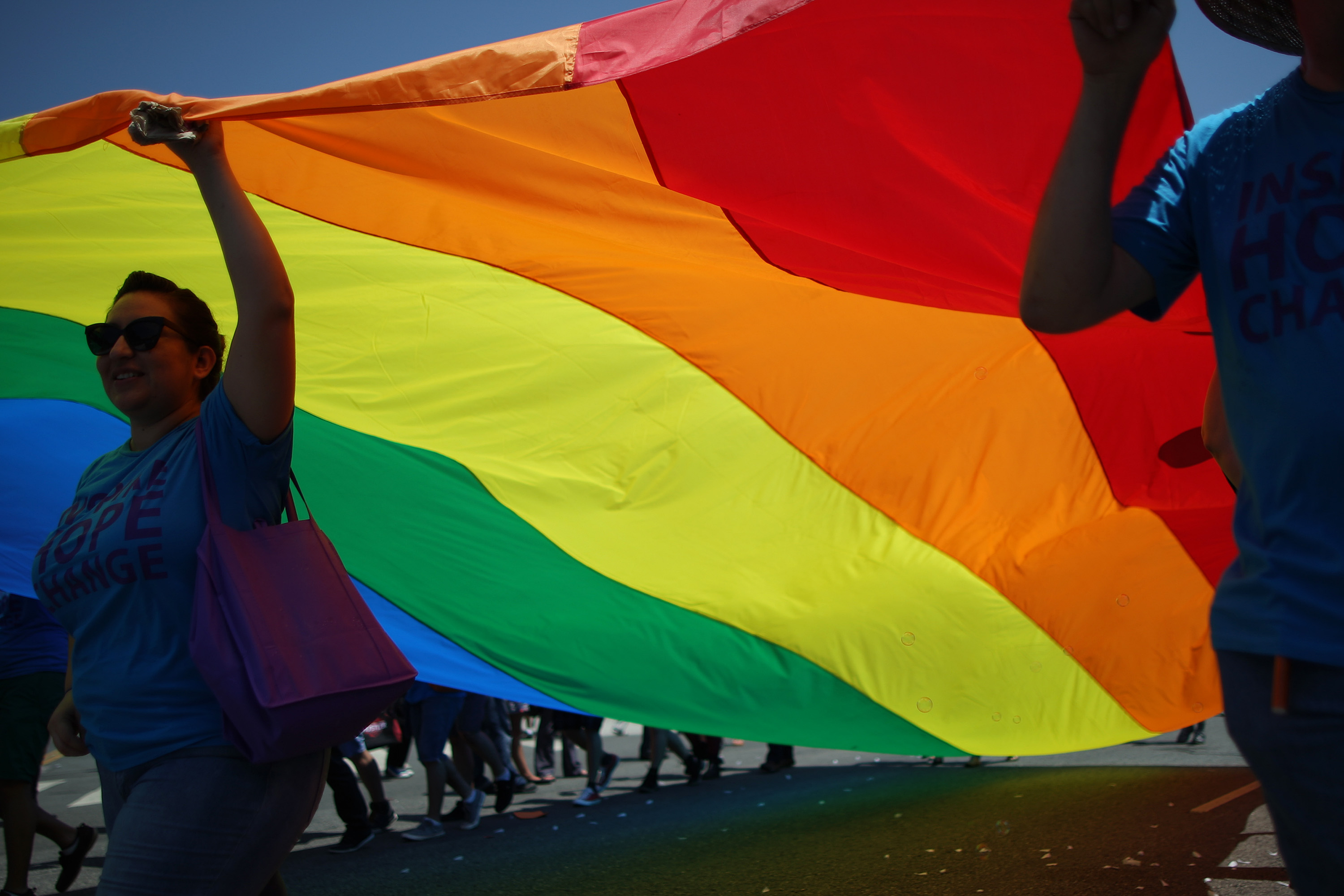 WEST HOLLYWOOD, CA - JUNE 8:  Marchers carry a rainbow flag in the LA Pride Parade on June 8, 2014 in West Hollywood, California. The LA Pride Parade and weekend events this year are emphasizing transgender rights and issues. The annual LGBT pride parade begin in 1970, a year after the Stonewall riots, and historically attracts more than 400,000 spectators and participants.   (Photo by David McNew/Getty Images)