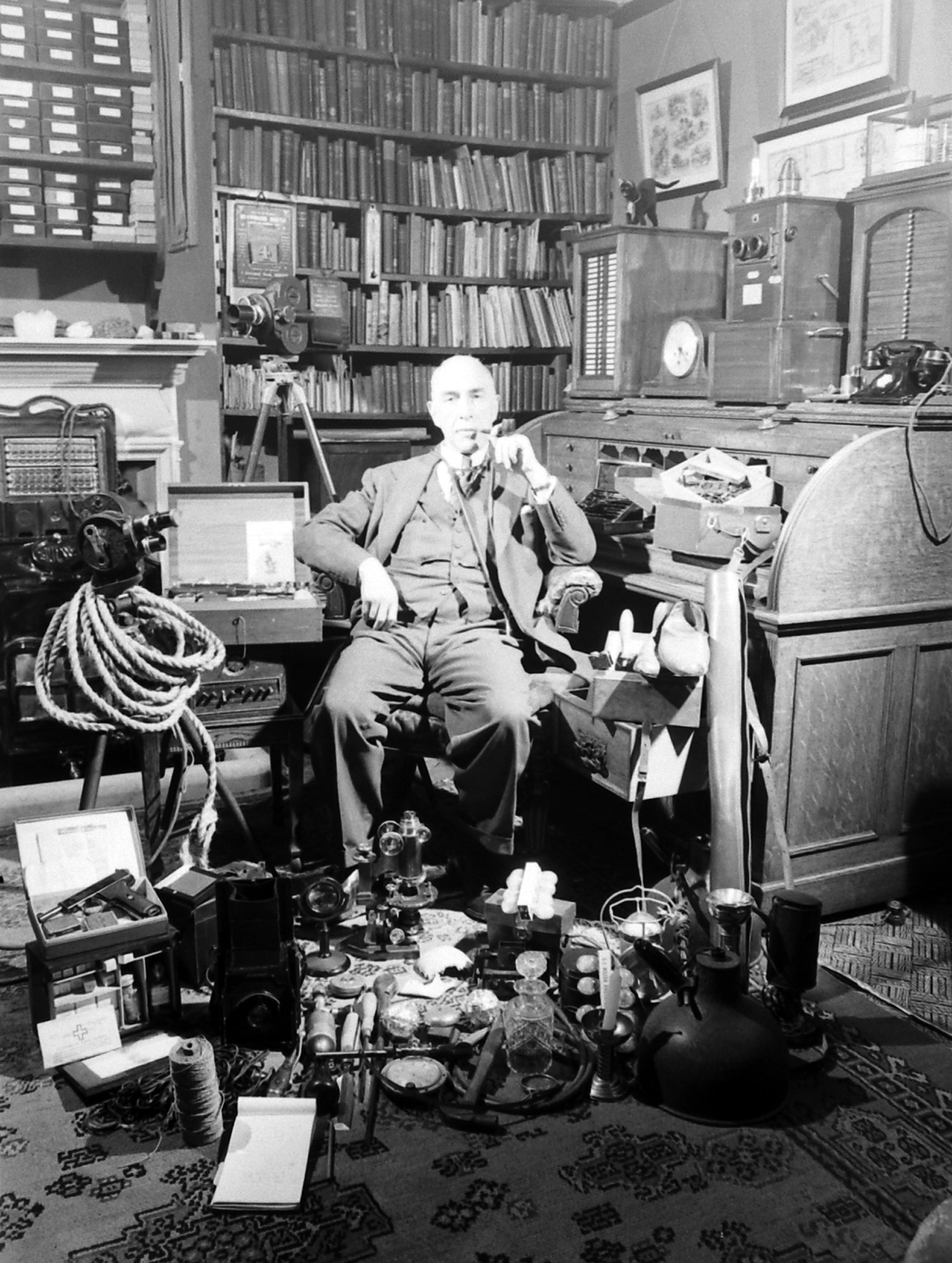 Paranormal researcher Harry Price at the Borley Rectory, known as the most haunted house in England, circa 1931.
