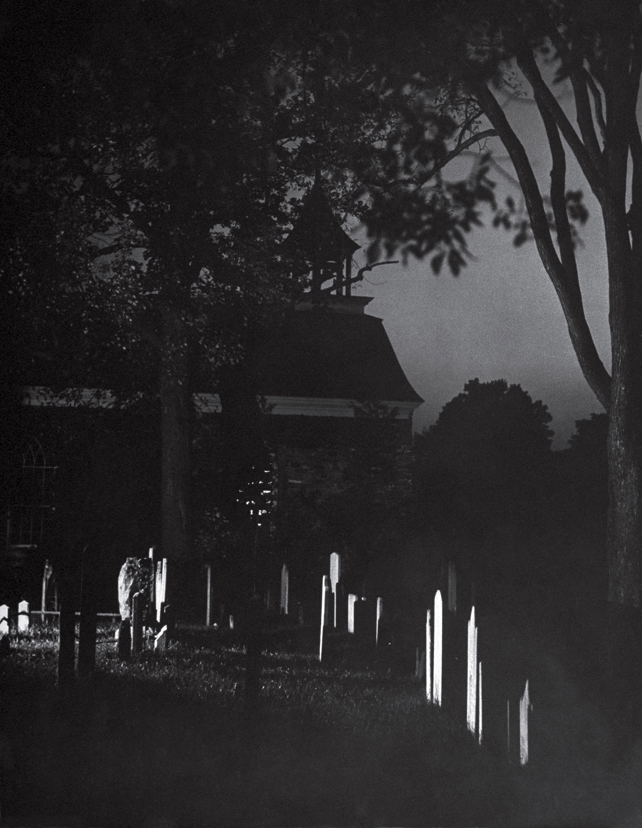Night in the Sleepy Hollow, N.Y., cemetery where author Washington Irving is buried.