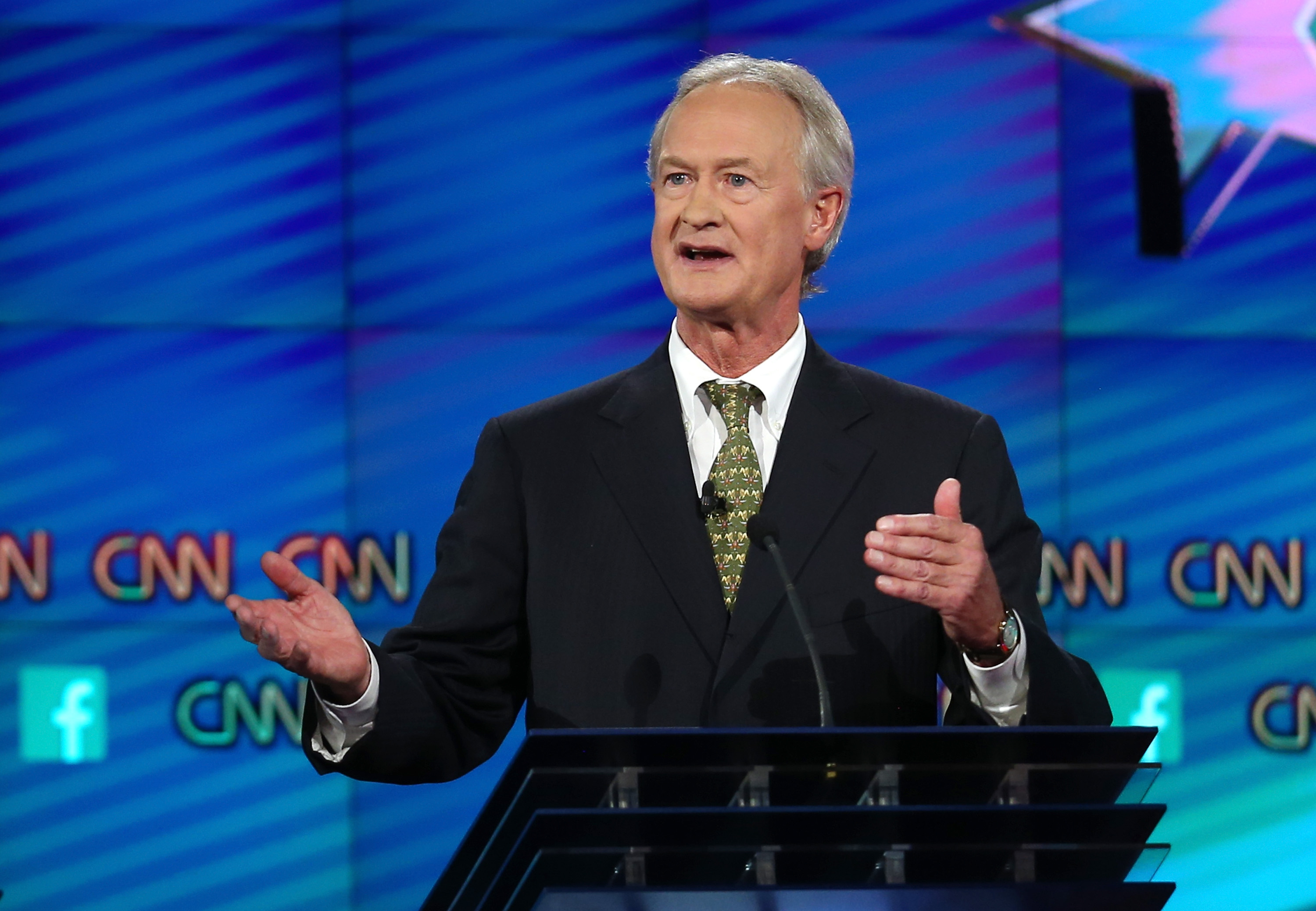 Democratic presidential candidate Lincoln Chafee takes part in a presidential debate sponsored by CNN and Facebook at Wynn Las Vegas in Las Vegas, on Oct. 13, 2015.
