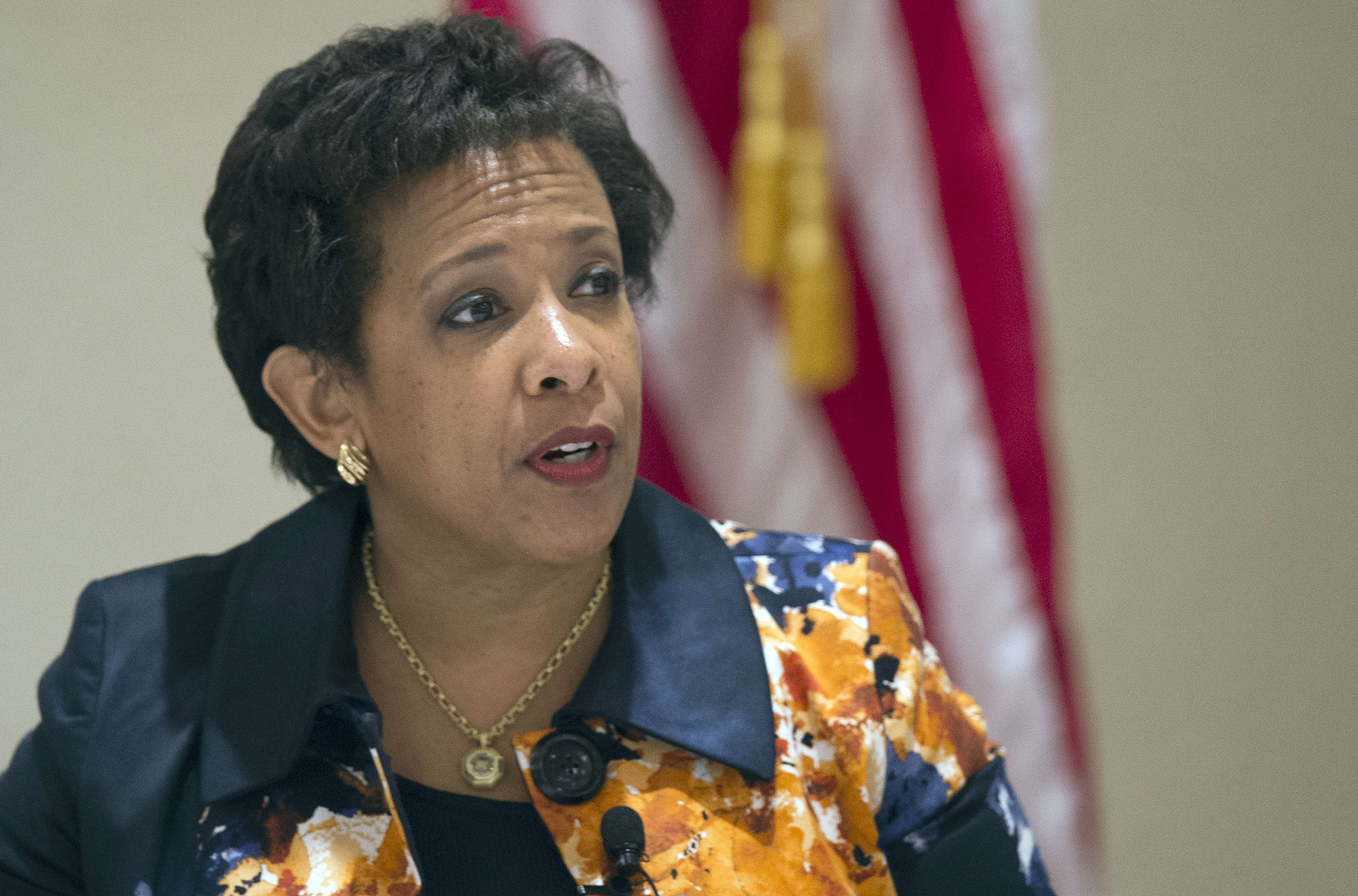 Attorney General Loretta Lynch speaks during a Department of Justice Summit on Violent Crimes on Oct. 7, 2015 in Washington.