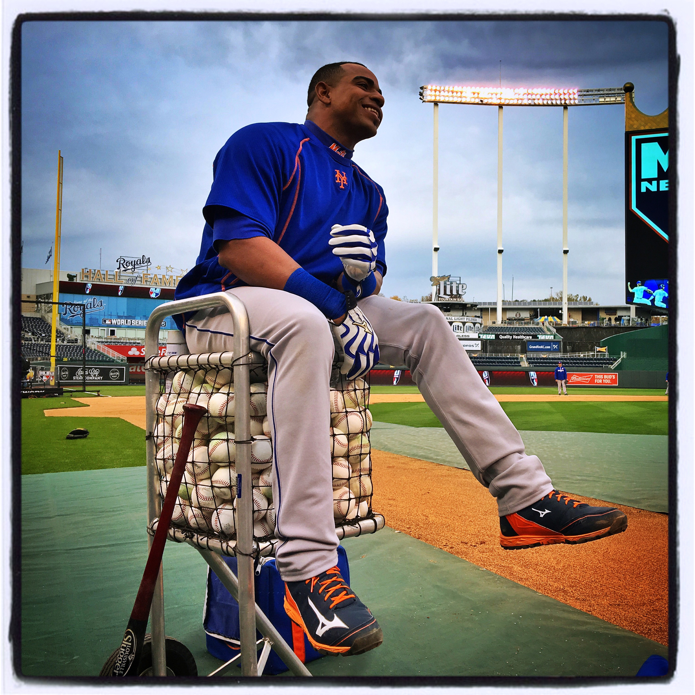 Yoenis Cespedes of the #mets watches batting practice during today's #worldseries workout before tomorrow's Game 1 against the #royals. #letsgomets #iphone6splus #instantbaseball