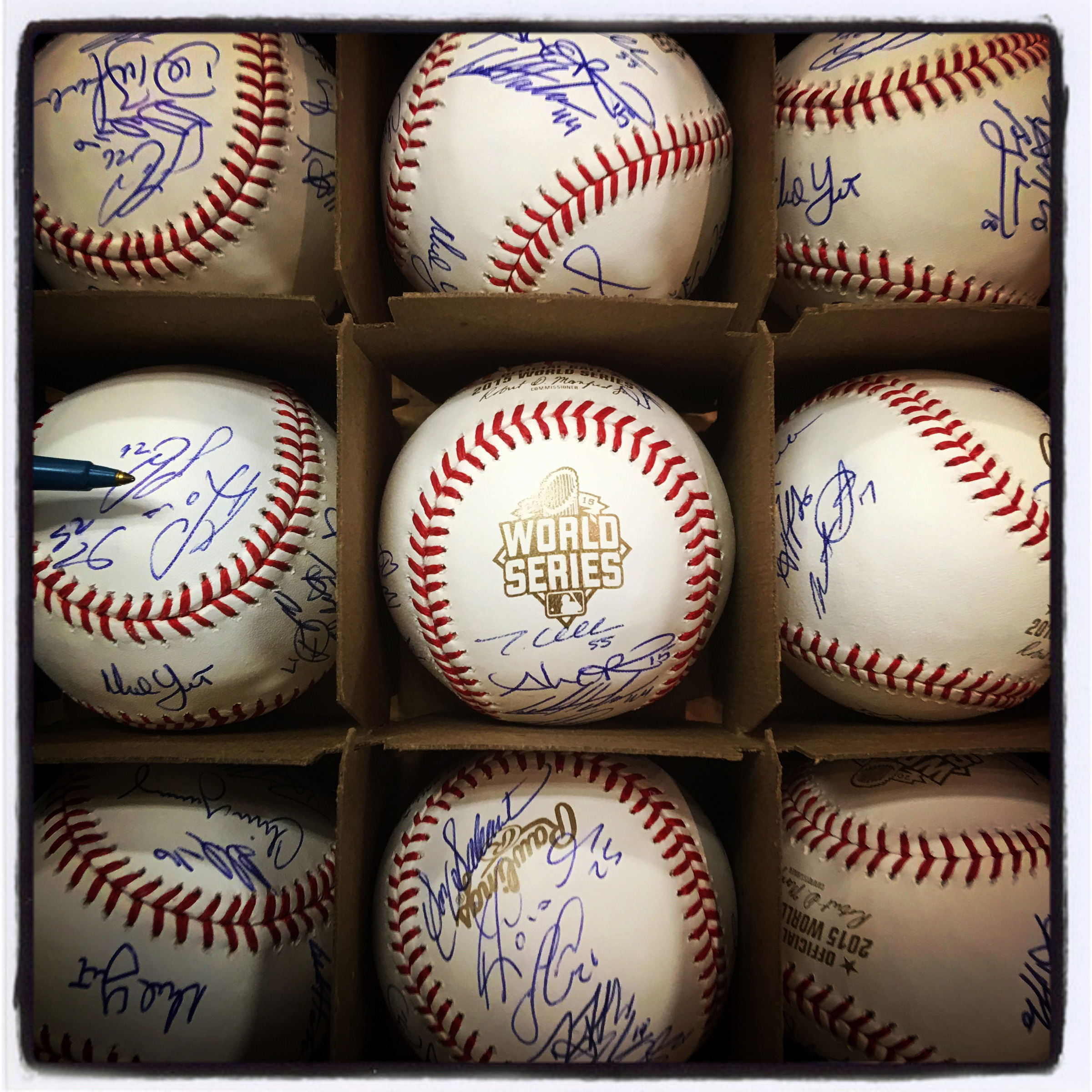 Autographed #royals #baseballs sit in the home clubhouse before tonight's #worldseries game 2 against the #mets in Kansas City. #iphone6splus #instantbaseball