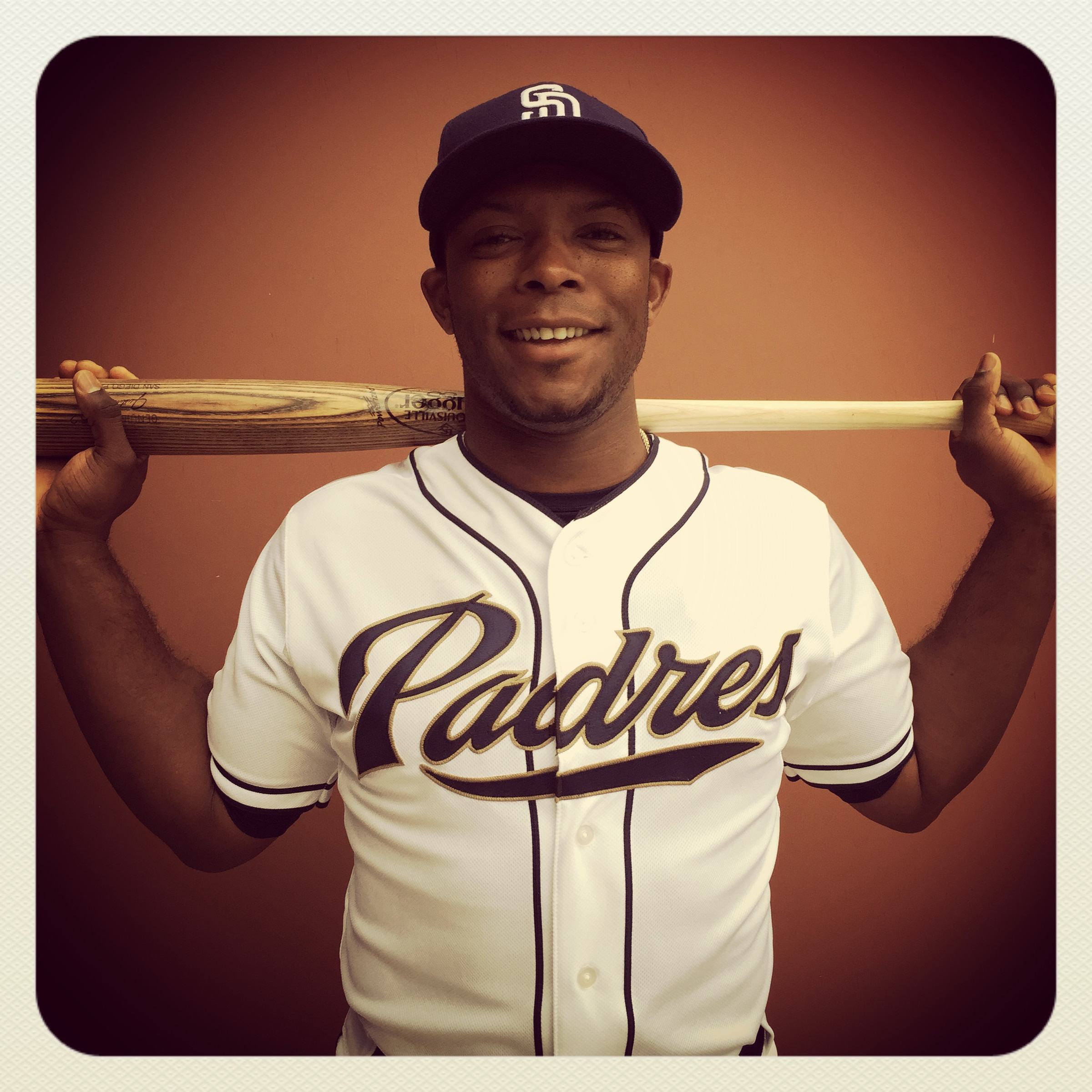 Justin Upton of the #Padres poses for a portrait on photo day this morning at #springtraining in Peoria, Arizona. #instantbaseball #iphone6plus