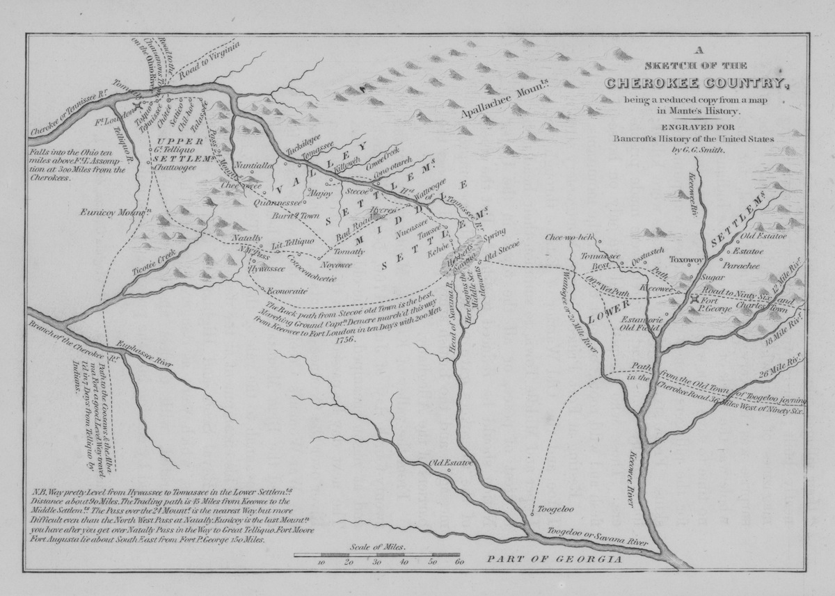 Sketch map of the Cherokee Country in Southeastern USA, originally from Mante's History, showing rivers, settlements and routes from late 18th century.