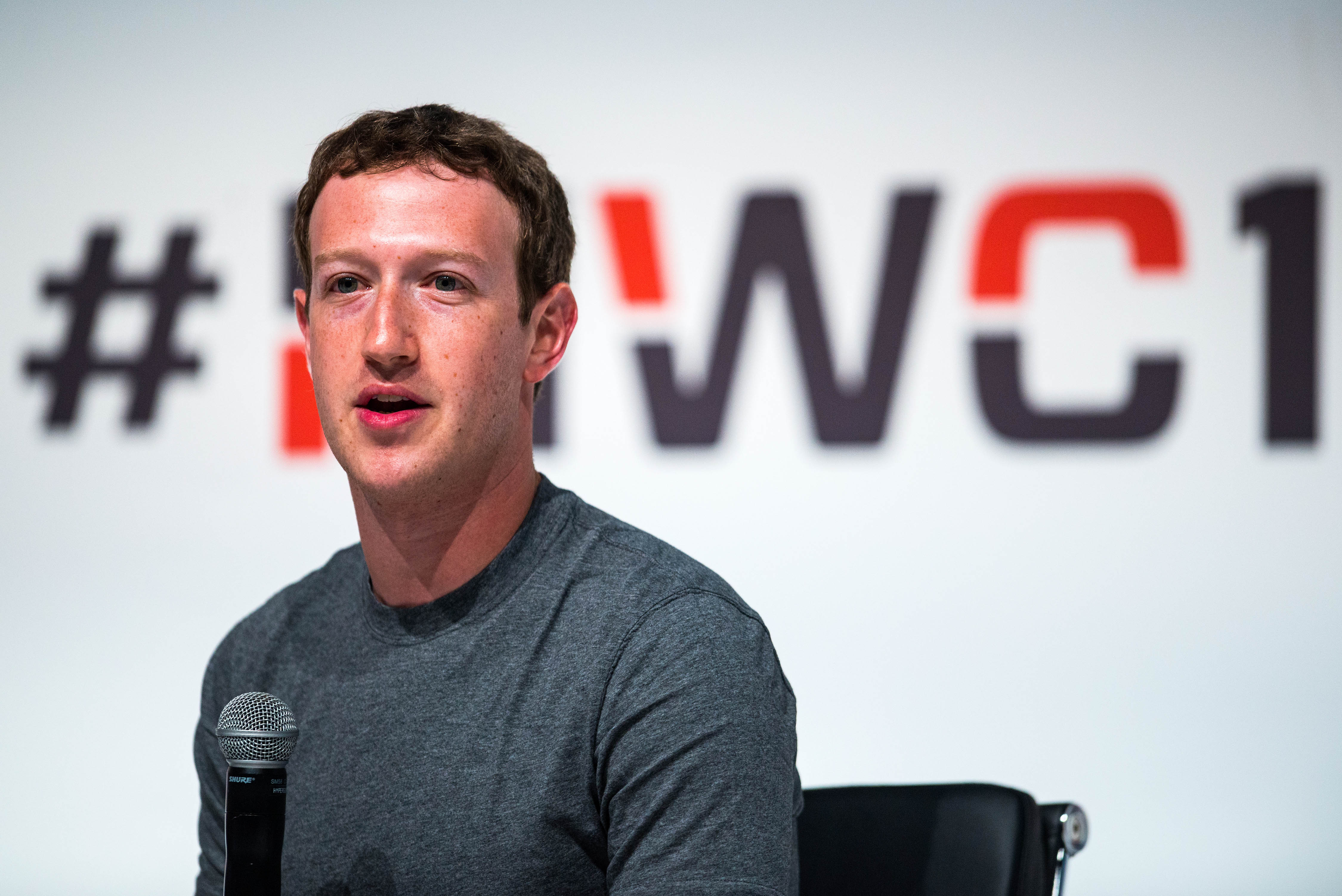 Mark Zuckerberg speaks during his keynote conference during the first day of the Mobile World Congress 2015 in Barcelona, Spain on March 2, 2015.