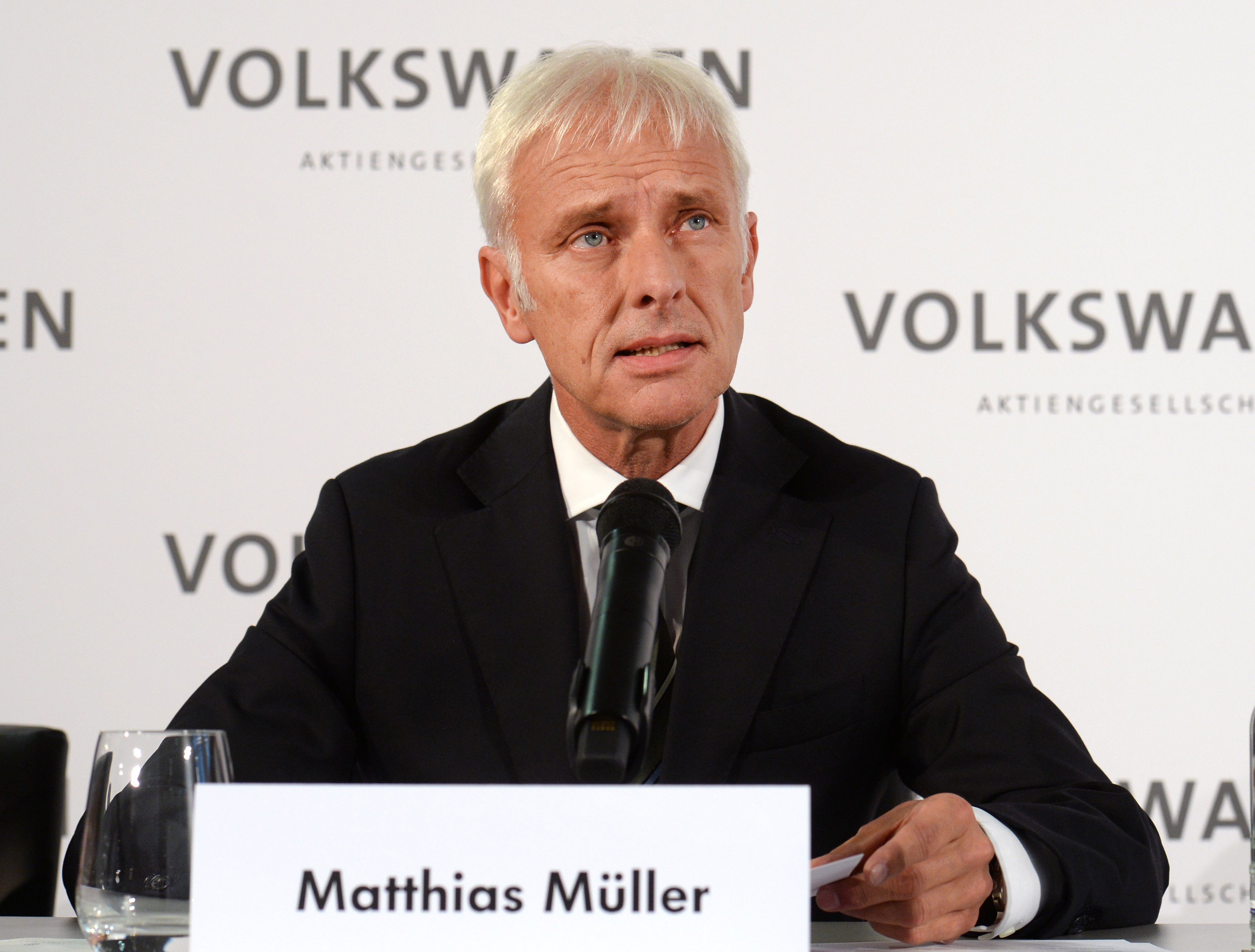 Matthias Müller, the new chief executive of Volkswagen, holds a press conference at the VW factory in in Wolfsburg, Germany, on Sept. 25, 2015
