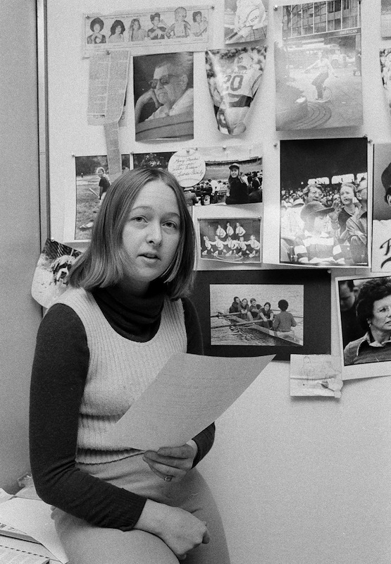 Melissa Ludtke, a writer for Sports Illustrated, is shown on the job in her office in New York, Jan. 23, 1978, when she was involved in a court case to allow women reporters in sports locker rooms.