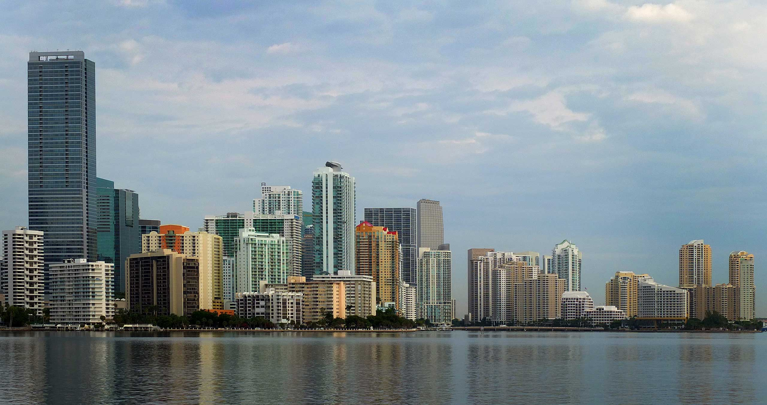 Buidlings stand in the skyline of Miami, Florida,