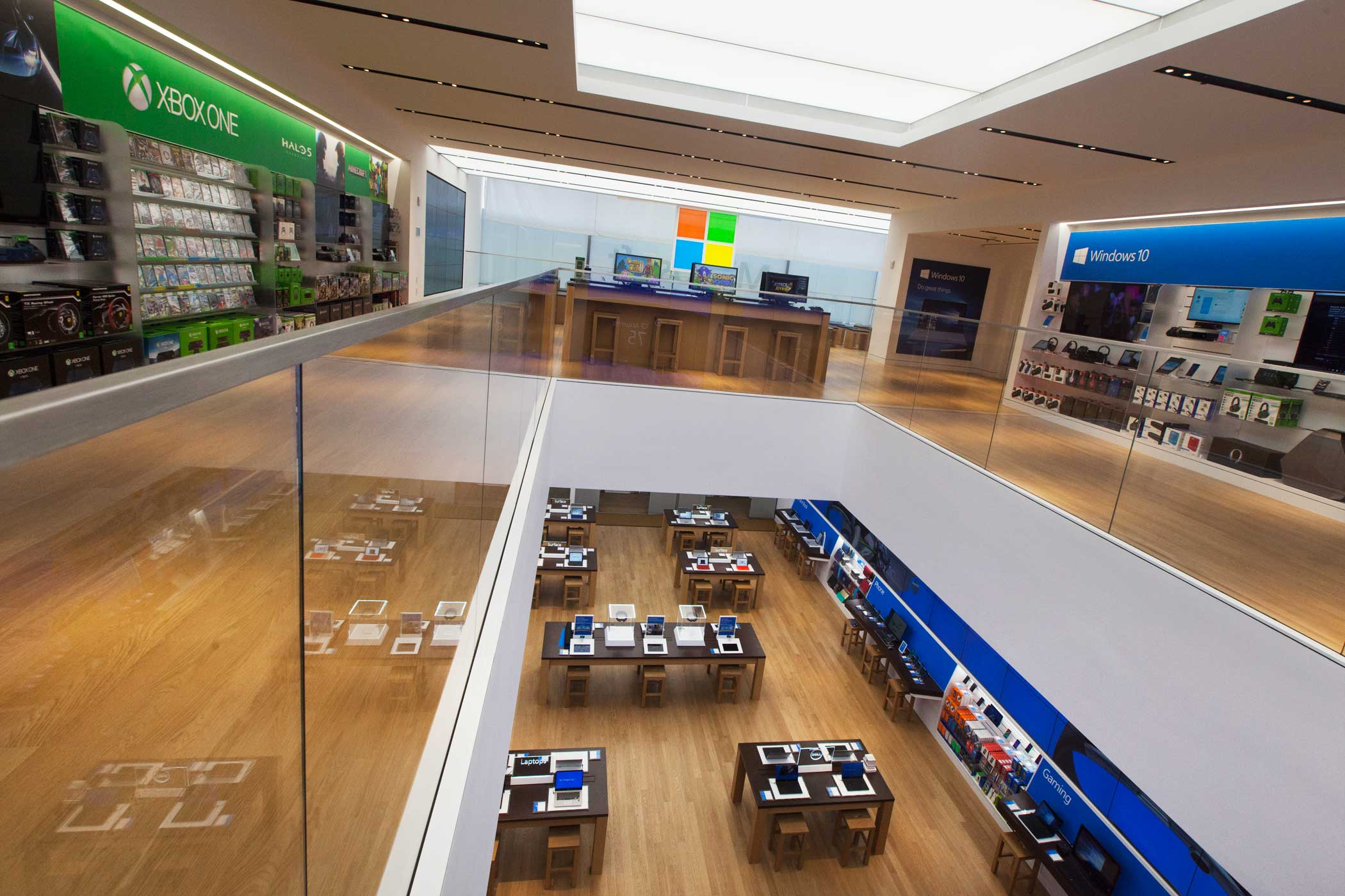 <b>Microsoft Store</b> Displays line the walls of the first and second floors.