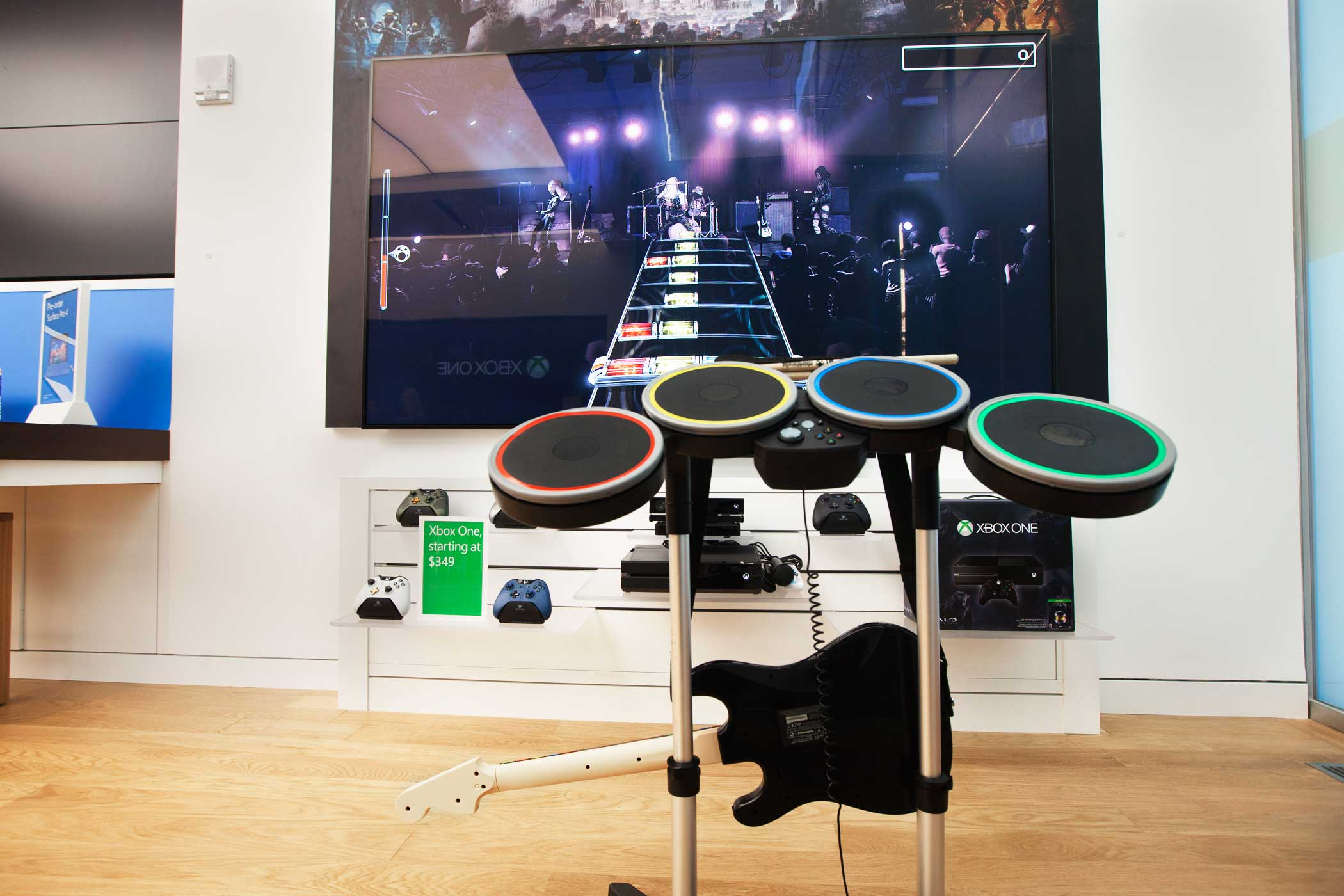 Guitar Hero is setup for all to play.