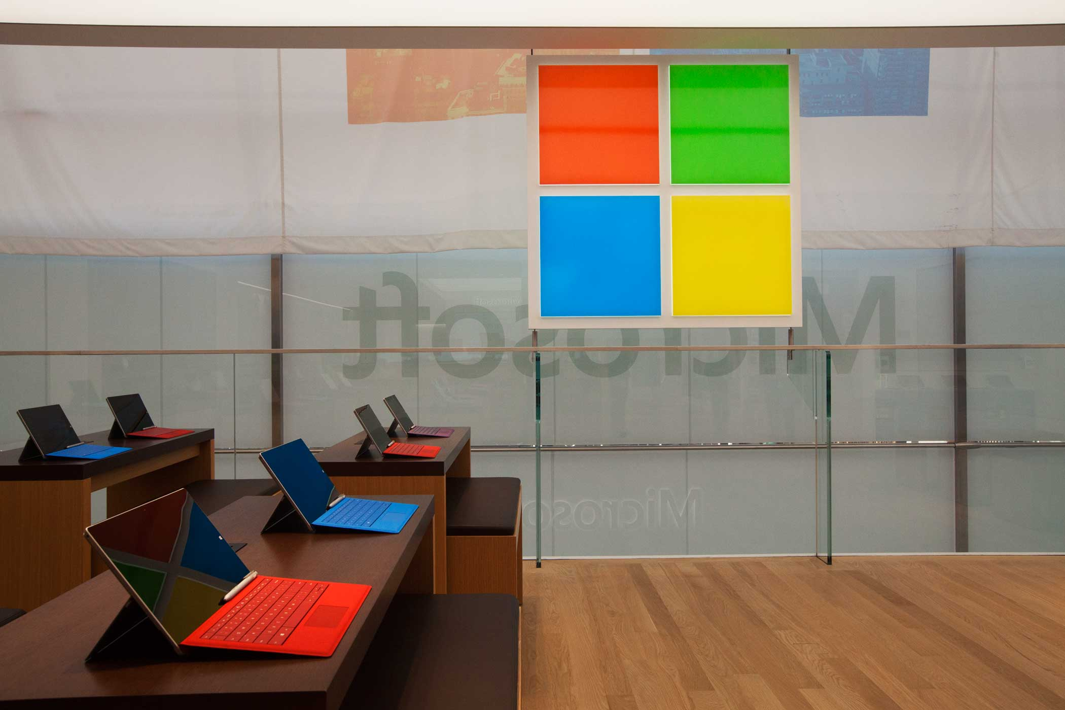 <b>Microsoft Store</b> Surface Pro computers with the Microsoft logo that will  raise and lower itself with the sun.