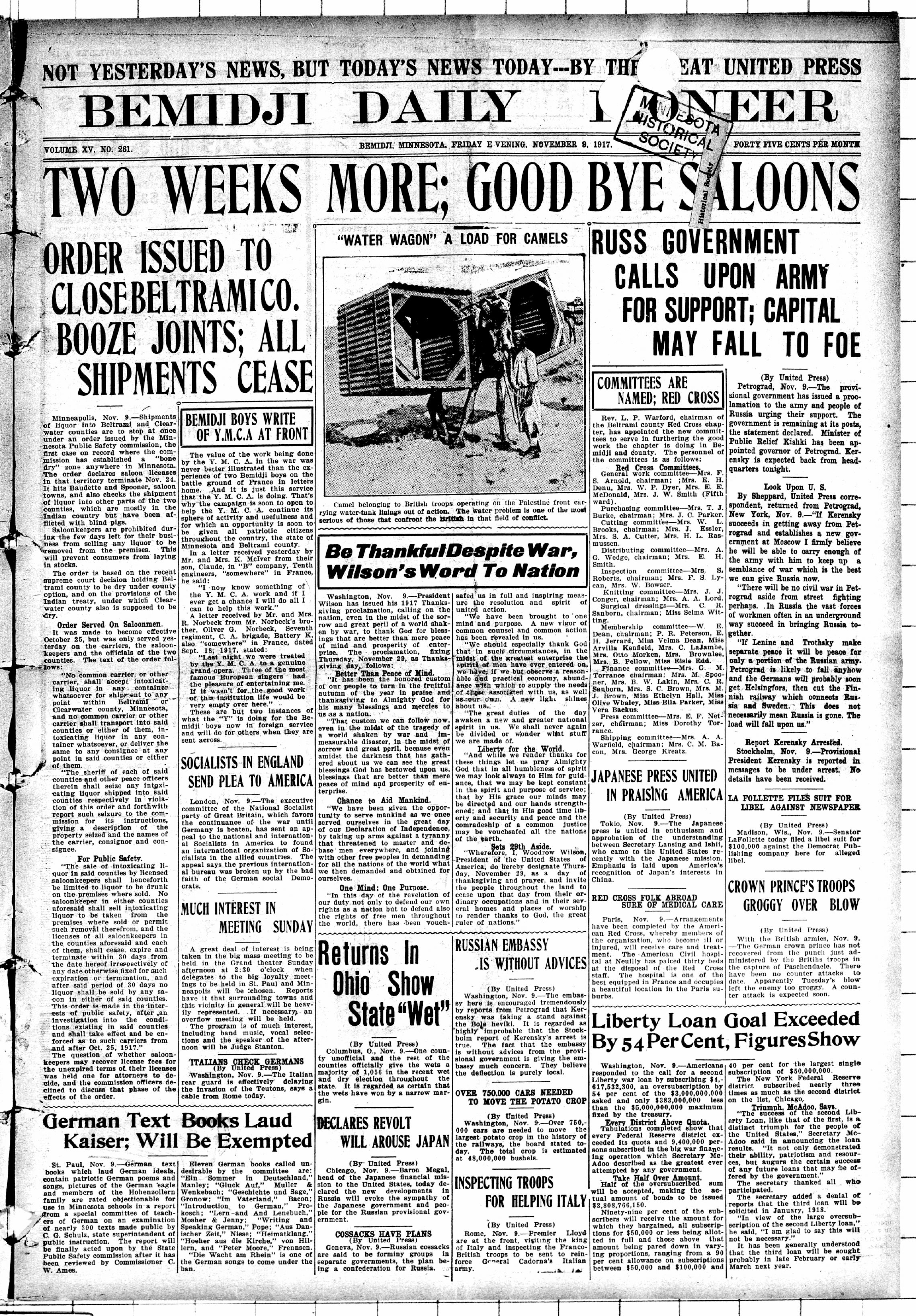 The Bemidji Daily Pioneer. (Bemidji, Minn.), Nov. 9, 1917. Front page news: Counties in Minnesota instituting prohibition.