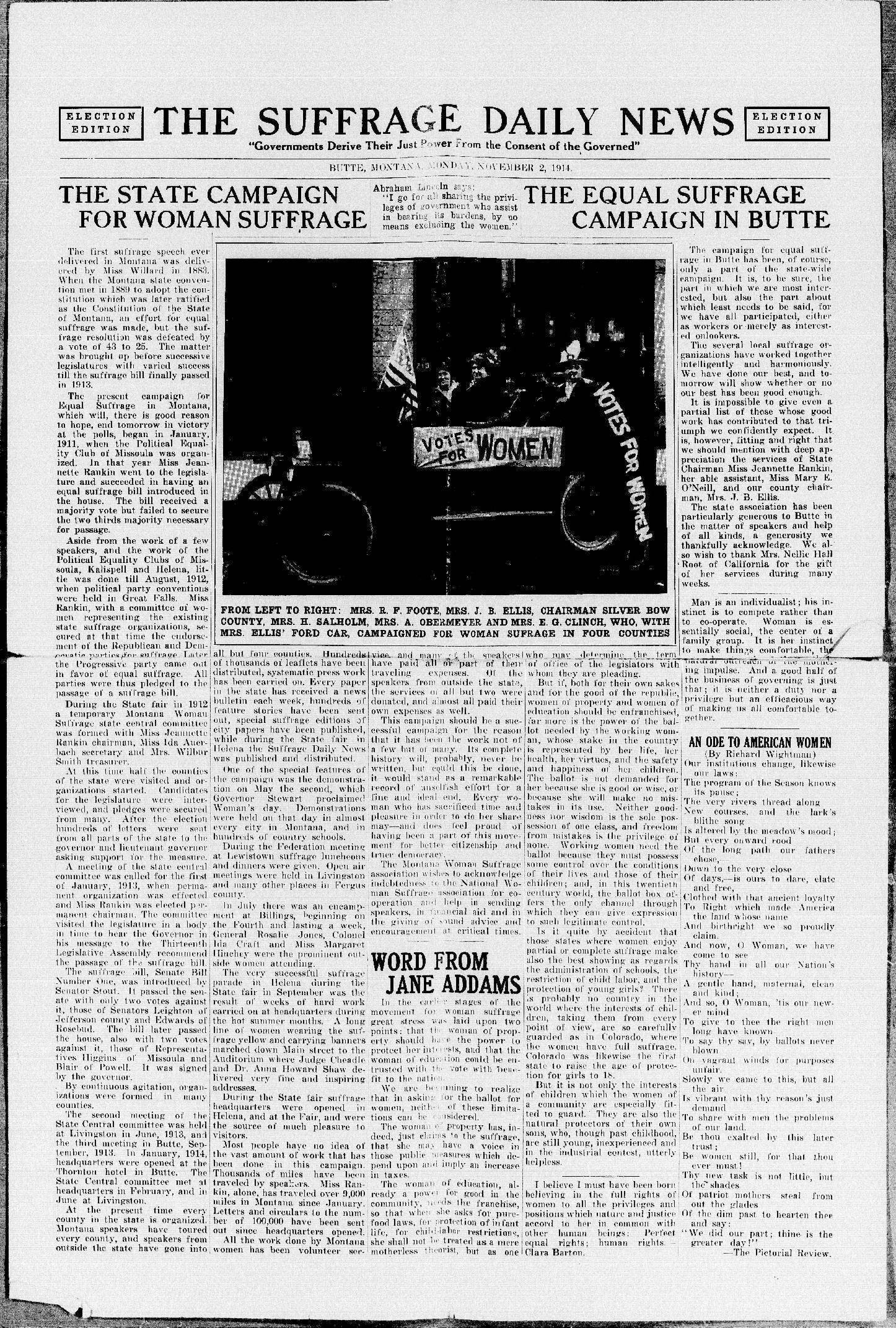 The Suffrage Daily News. (Helena, Mont.), Nov. 2, 1914.Front page news: The fight for women's suffrage in the state of Montana. Montana went on to elect the first woman to Congress.