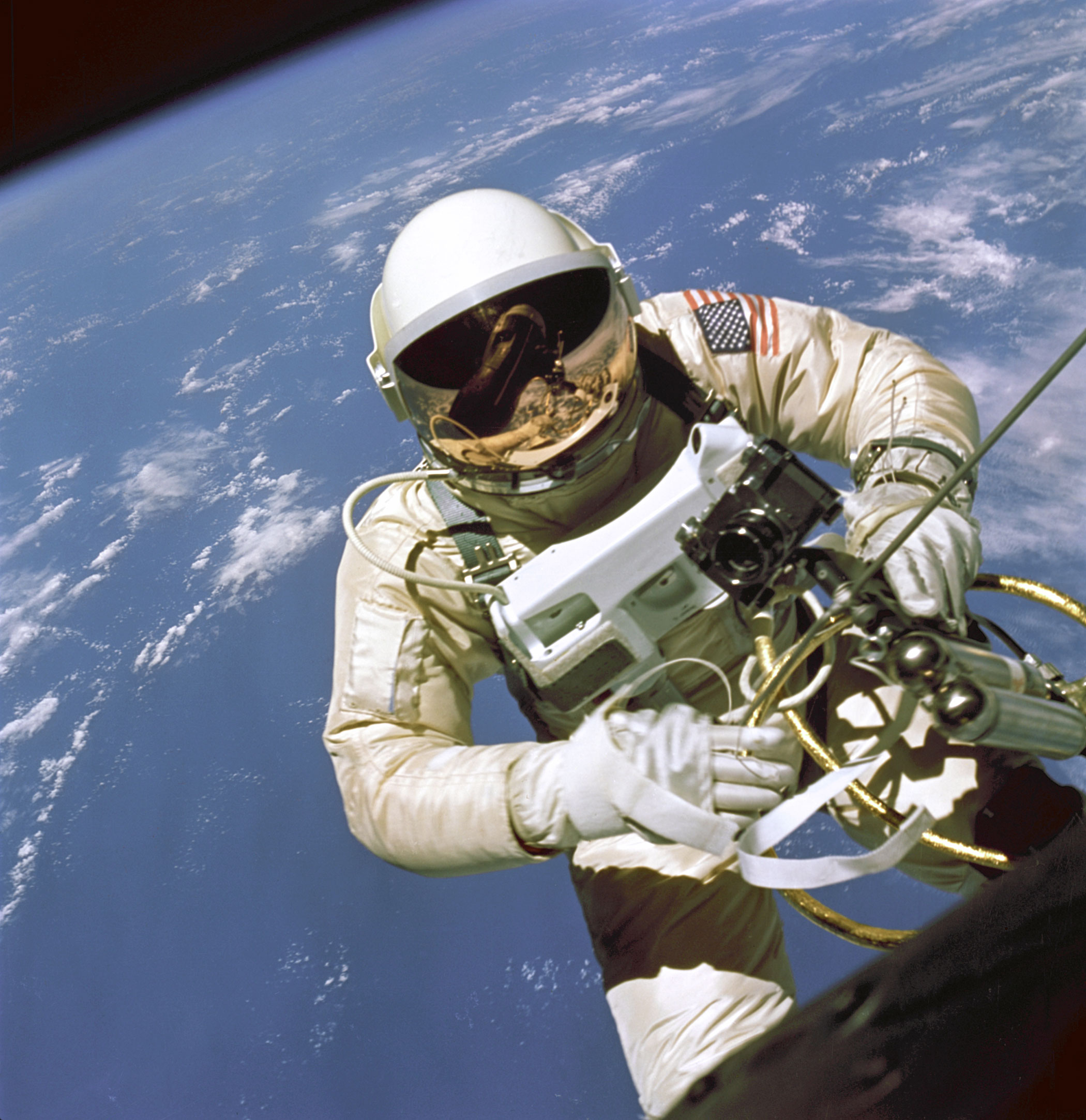<b>America's First Space Walk, 1965</b>; Astronaut Edward H. White II, pilot for the Gemini-Titan 4 space flight, floats in space during America's first spacewalk on June 3, 1965.