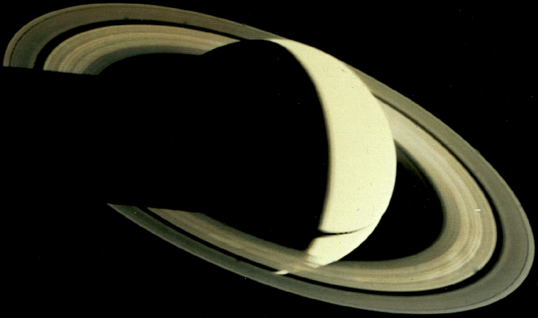 <b>Saturn, 1980</b>; Voyager 1's image of Saturn from 5.3 million km, four days after its closest approach.