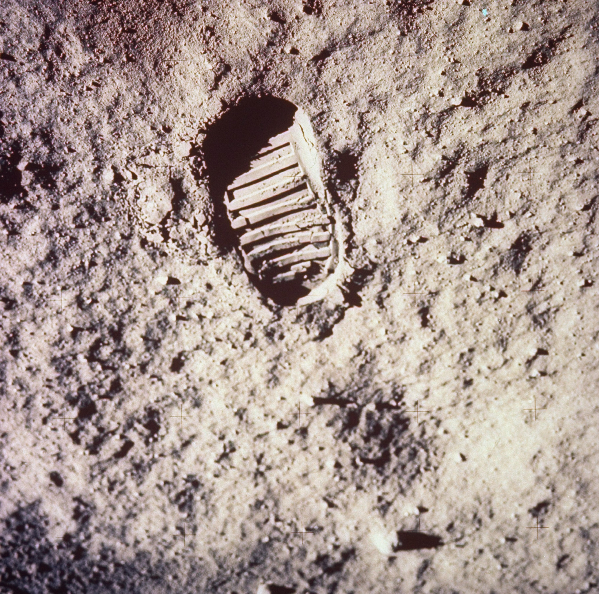 <b>Neil Armstrong's Footprint on the Moon, 1969</b>; Footprint left by astronaut on lunar soil during Apollo 11 lunar mission in which astronauts Neil Armstrong and Buzz Aldrin took walk on moon's surface.