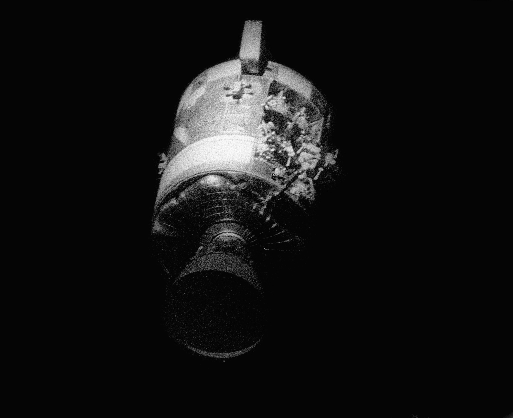<b>Apollo 13's Command Module, 1970</b>; A NASA picture taken on April 17, 1970 shows Apollo 13 damaged Service Module Odyssey, as photographed from the Command Module after being jettisoned.