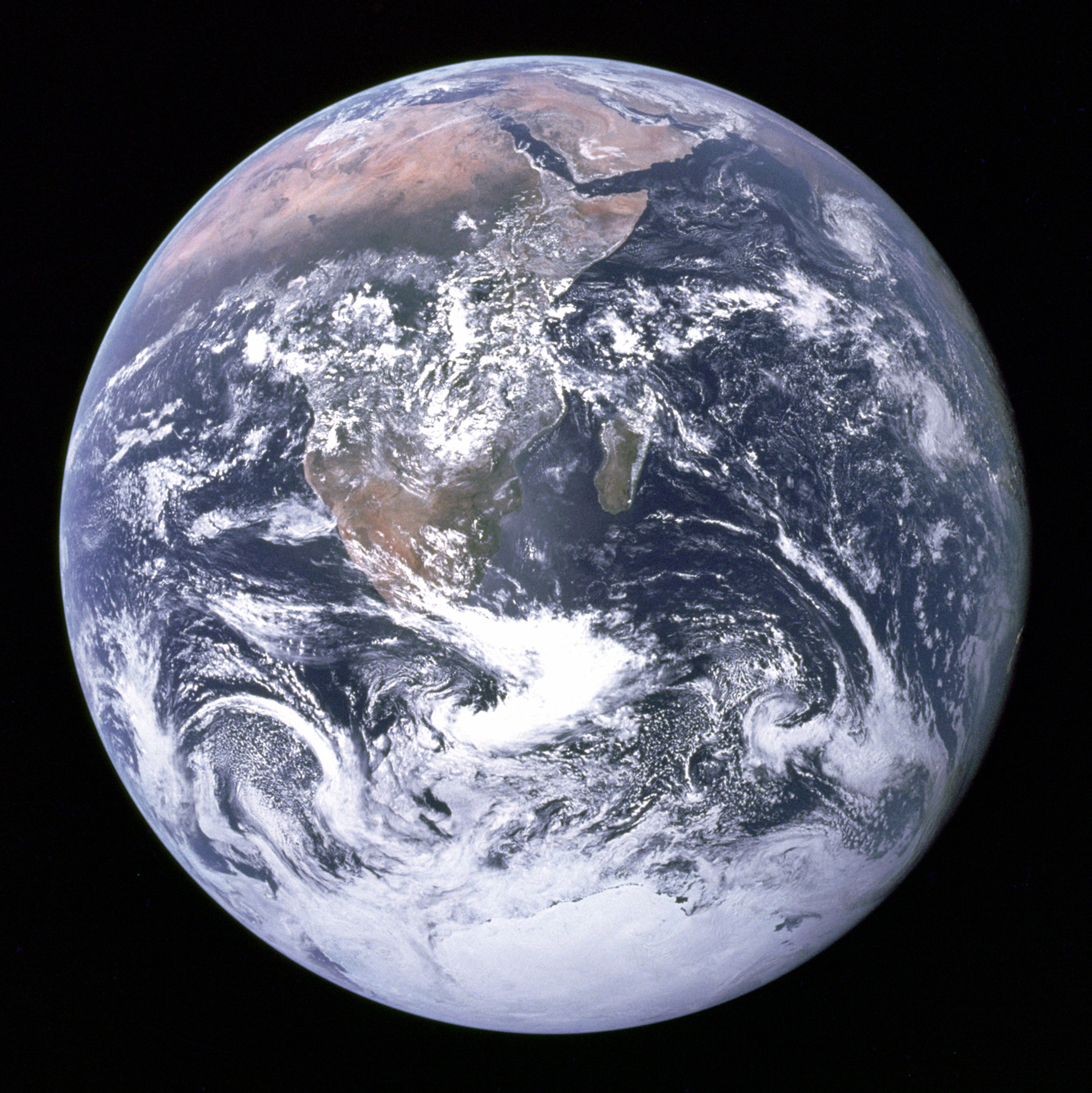 "<b>Blue Marble, 1972</b>; The original ""Blue Marble"" was taken on Dec. 7, 1972, by the crew of the Apollo 17 spacecraft en route to the Moon at a distance of about 29,000 kilometres (18,000 mi). It shows Africa, Antarctica, and the Arabian Peninsula."