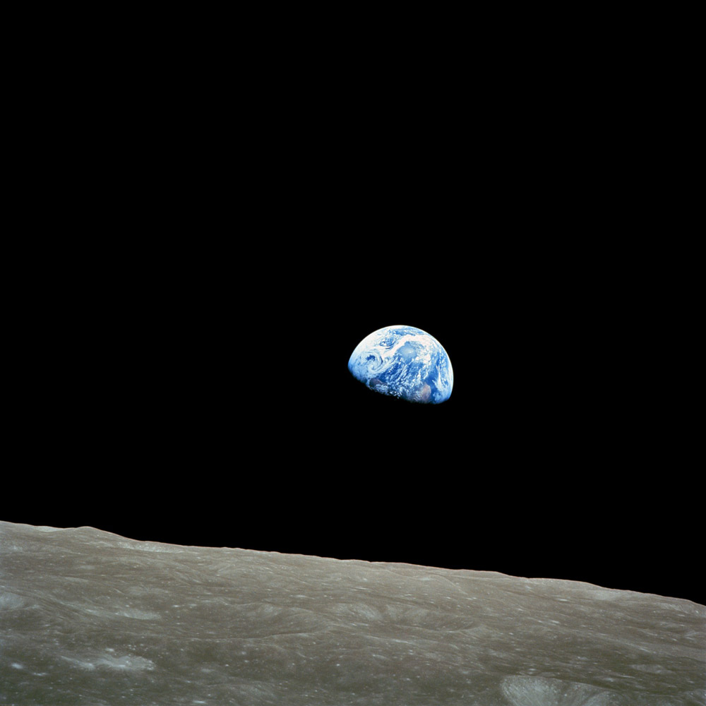 "<b>Earthrise, 1968</b>; Titled Earthrise, shot by astronaut William Anders during the Apollo 8 mission has been called ""the most influential environmental photograph ever taken."" The photograph was taken from lunar orbit on Dec. 24, 1968 with a Hasselblad camera."