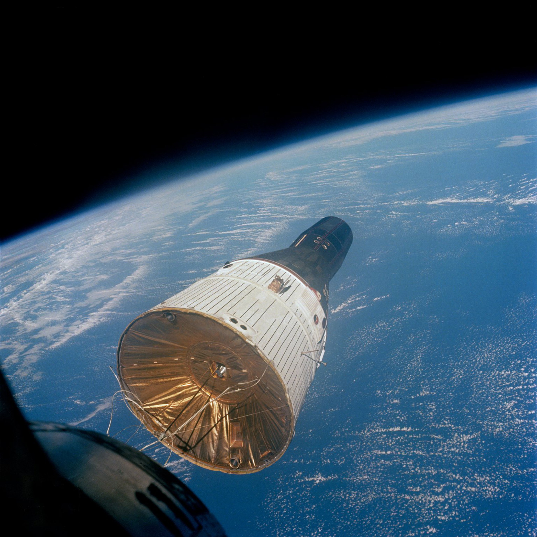 <b>Gemini 7, 1965</b>; Gemini 7 as seen from Gemini 6 during its in tandem space flight.