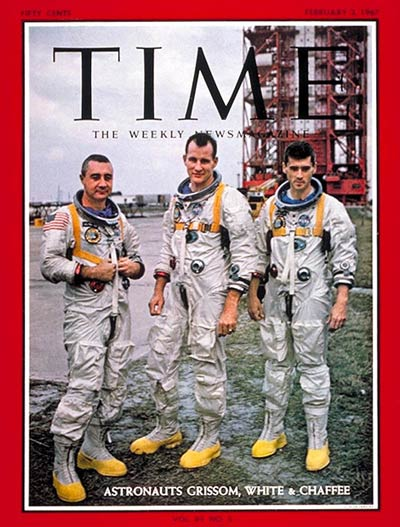 <b>Astronauts Gus Grissom, Edward White and Roger Chaffee in front of the launch pad, 1967</b> The three astronauts stand in front of the launch pad before the tragic events of the Apollo 1 mission.