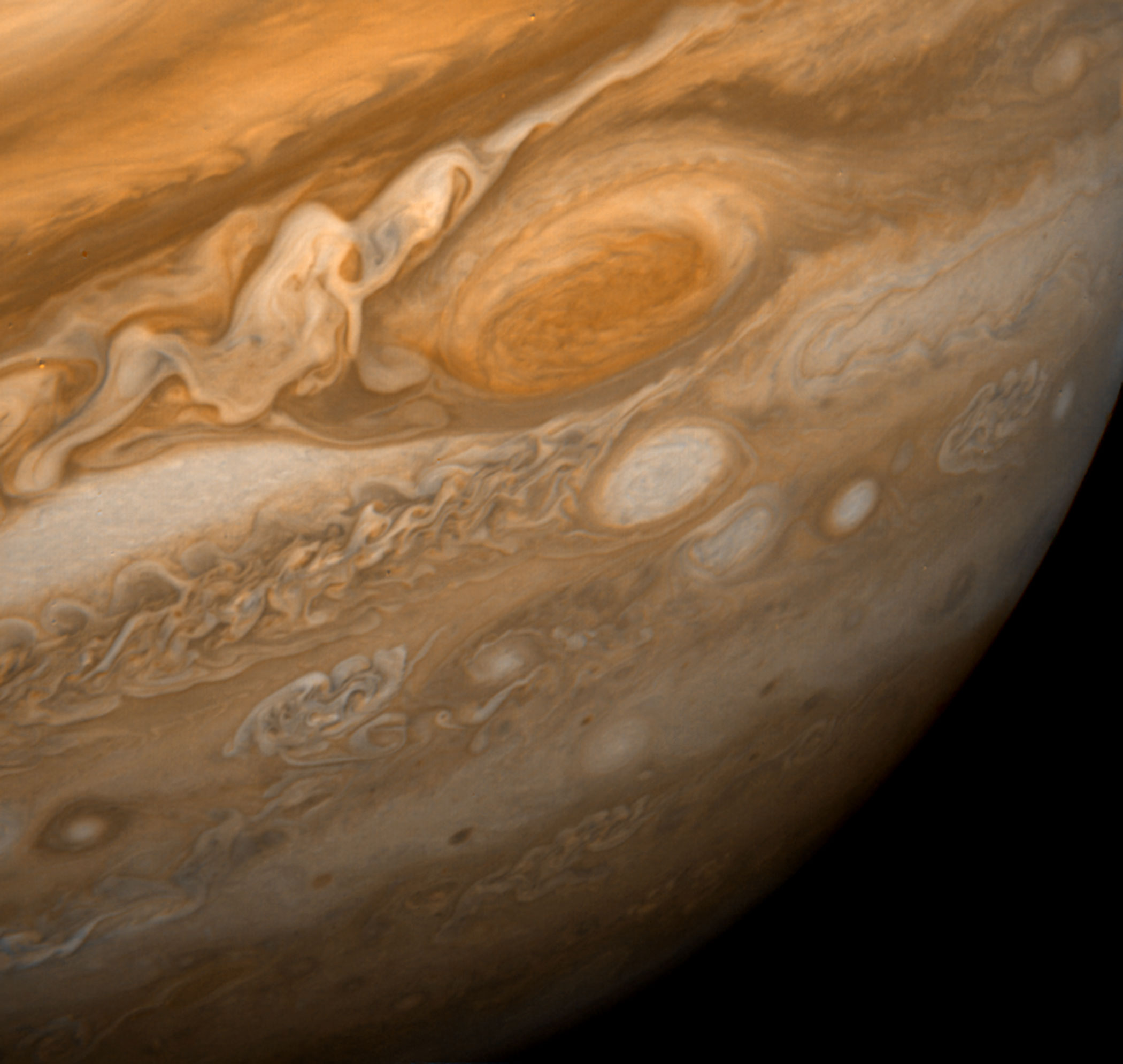 <b>Jupiter's Great Red Spot, 1979</b>; This dramatic view of Jupiter's Great Red Spot and its surroundings was obtained by Voyager 1 on Feb. 25, 1979.