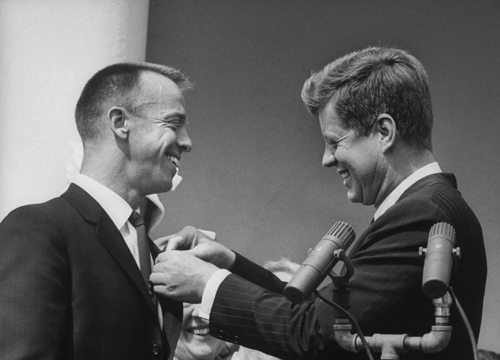 <b> Alan Shepard and JFK, 1961</b> Astronaut Alan B. Shepard receiving an award from President John F. Kennedy.