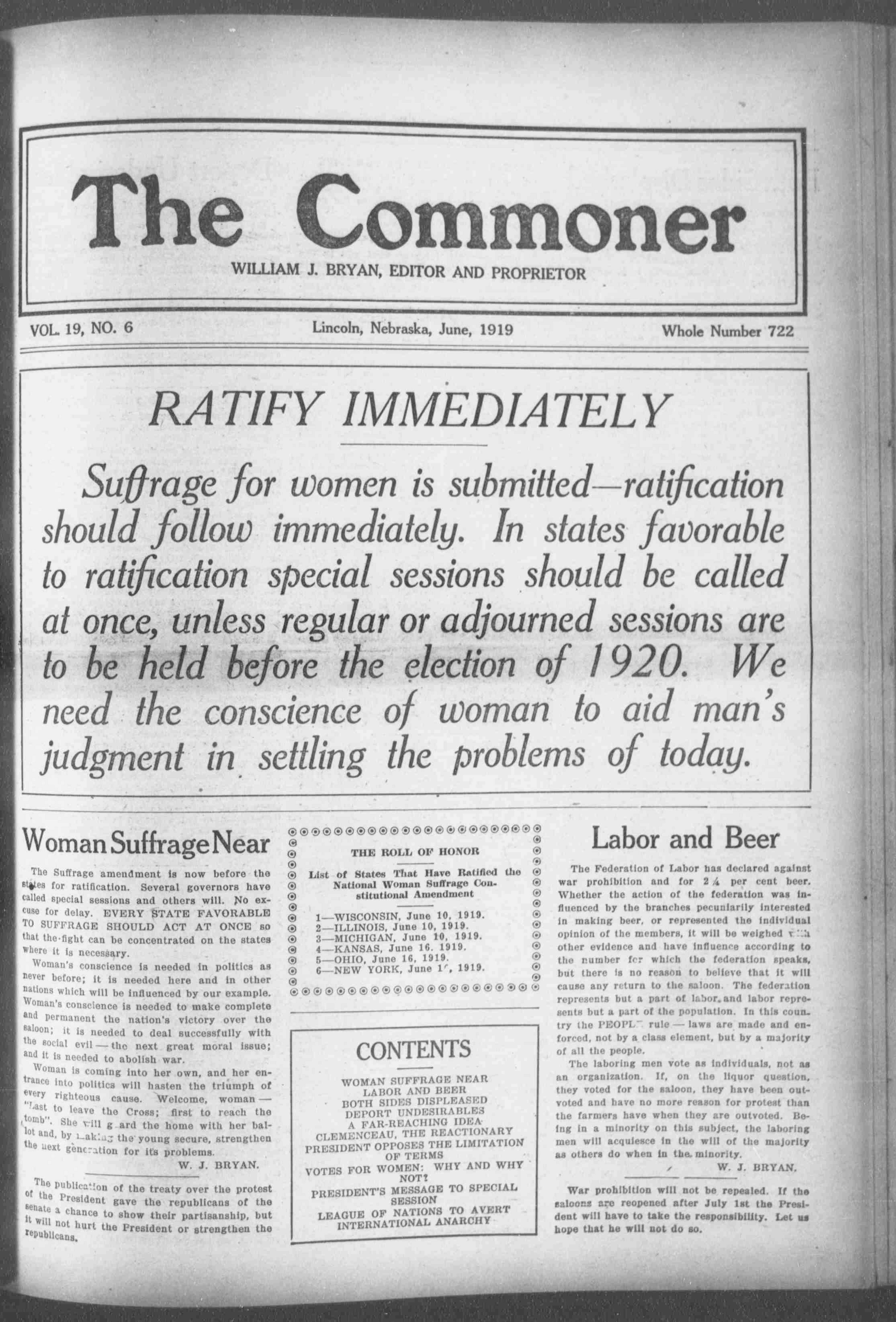 The Commoner. (Lincoln, Neb.), June 1, 1919. Front page news: The debate over national women's suffrage.